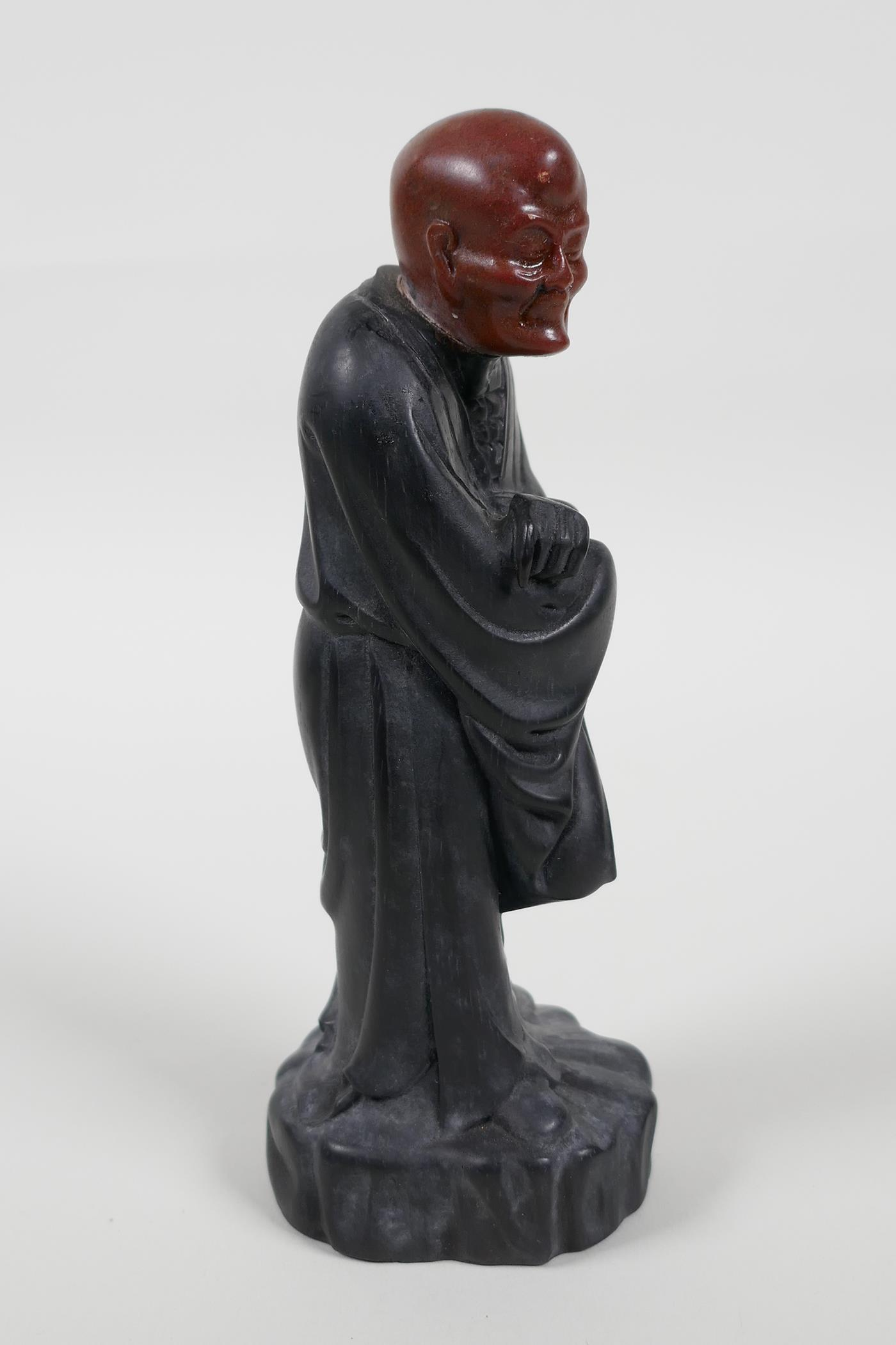 """A Chinese carved Zitan wood figure of Lohan with soapstone head, 6"""" high - Image 6 of 6"""