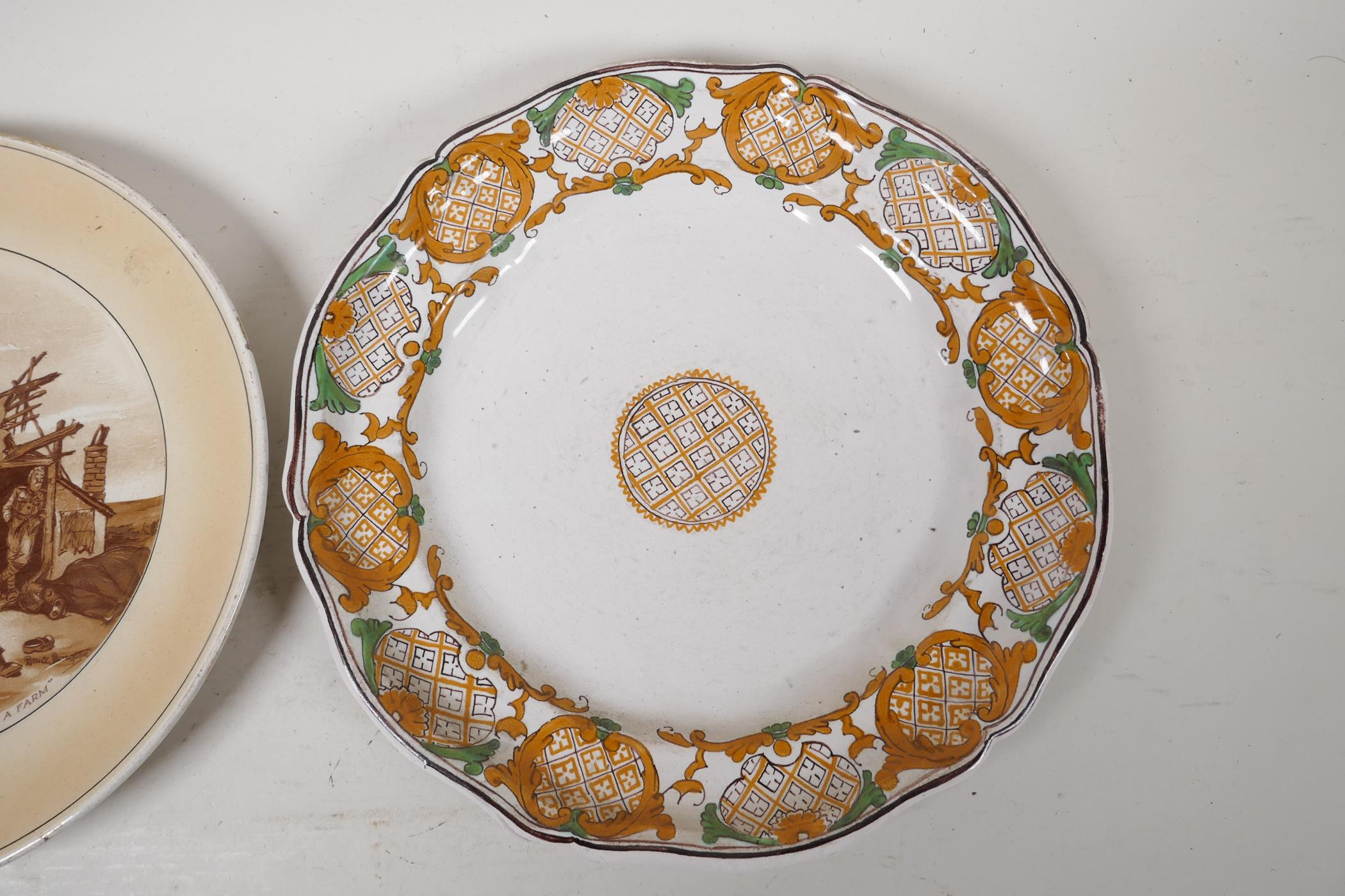 """A late C18th/early C19th Fayence plate with a geometric design, 9½"""" diameter, together with a - Image 2 of 3"""