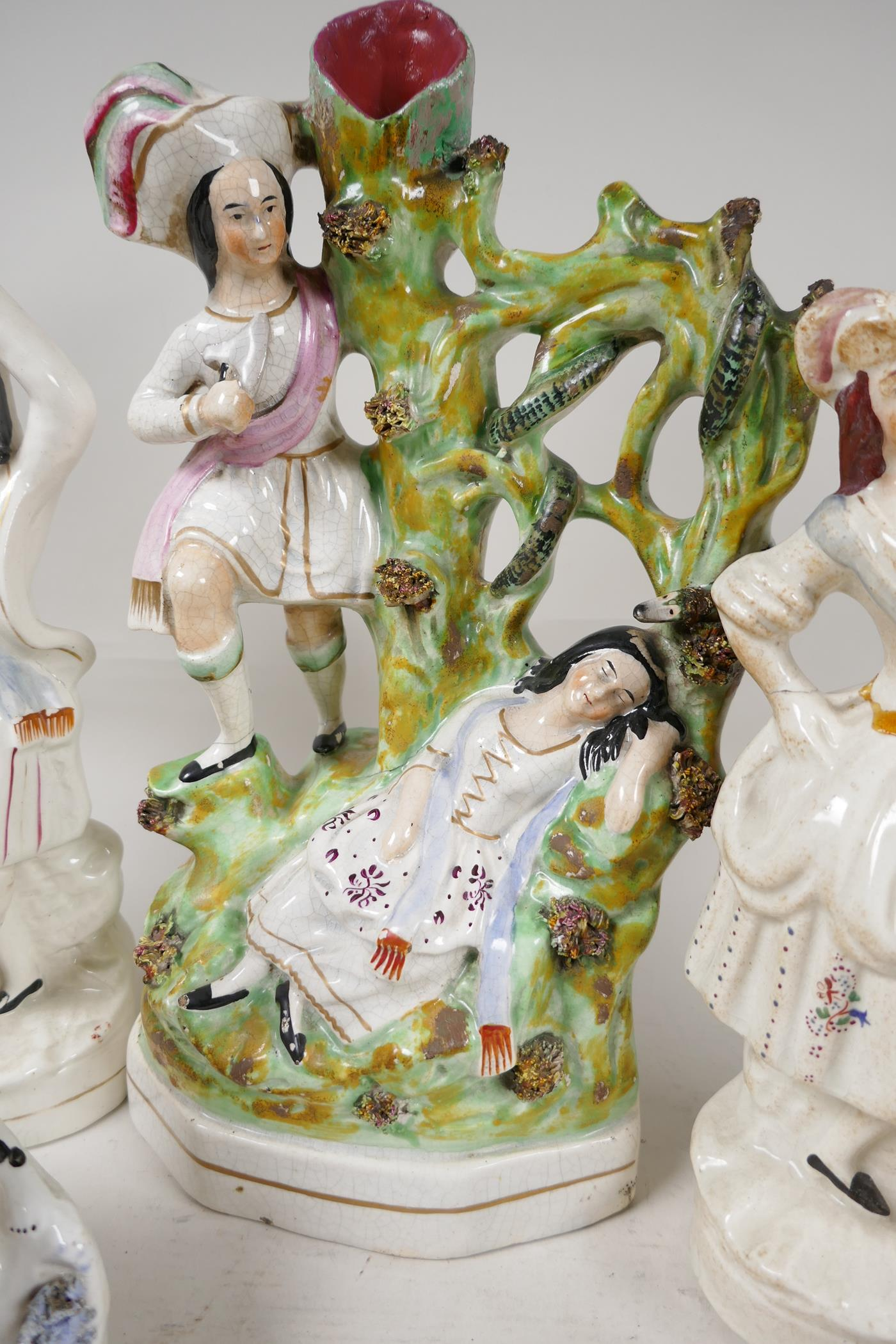 Nine early Staffordshire figures, the largest of a lady sleeping by a tree, a snake and her saviour, - Image 4 of 7
