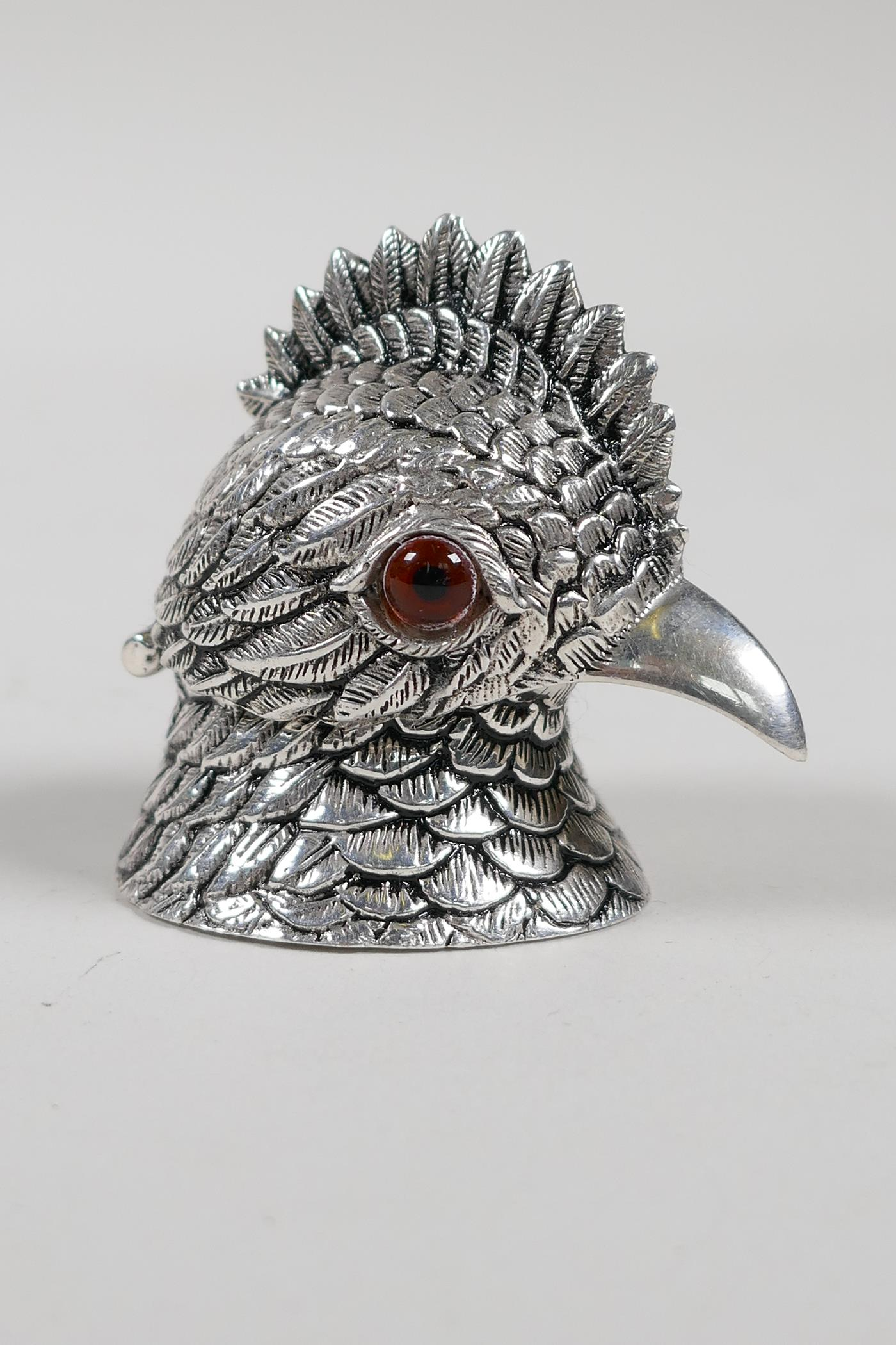 """A silver plated ink well in the form of a cockatoo head, 2"""" high"""