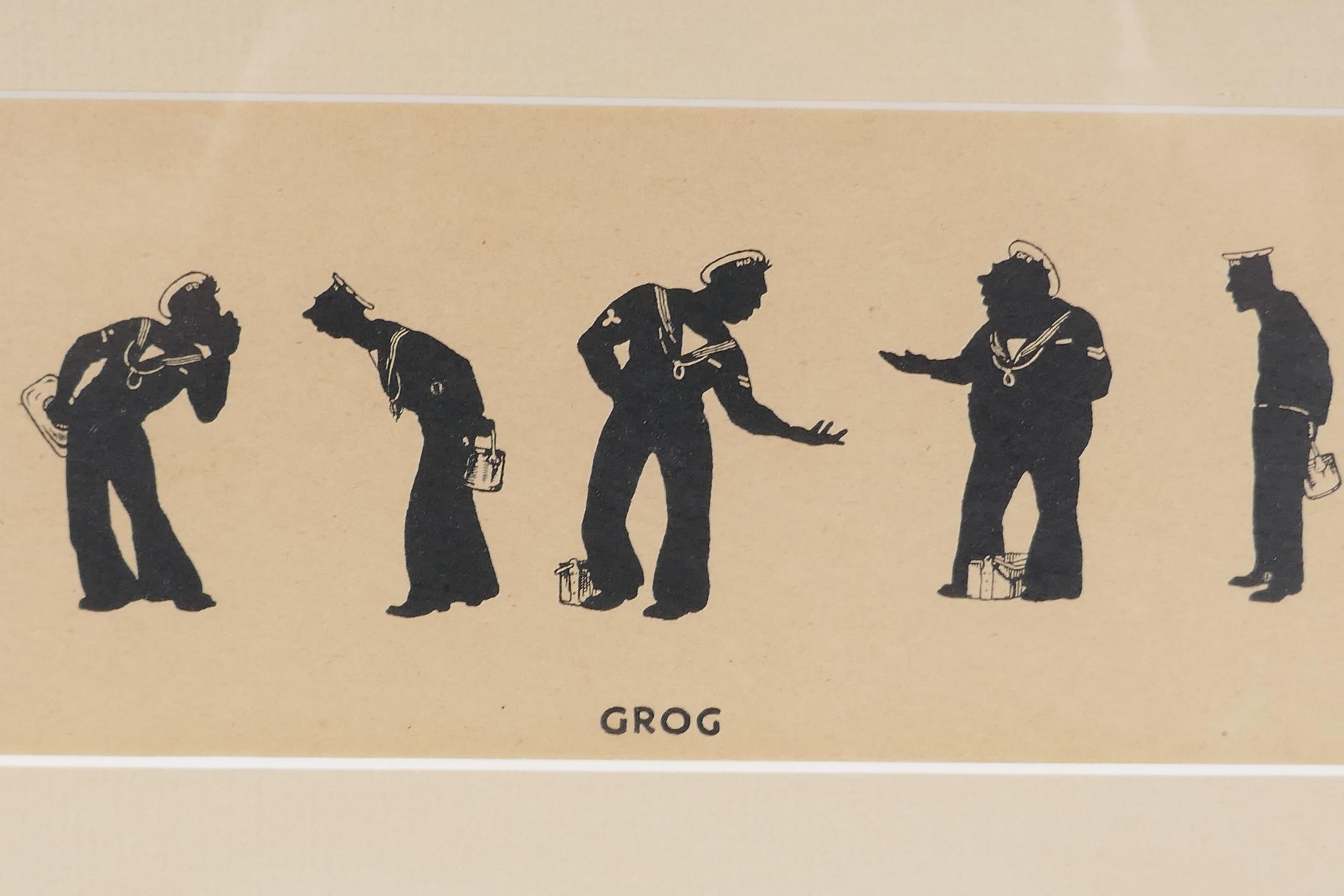 A.M. Hughes, three silhouette prints of naval life, Grog, Defaulters and Sunday Rounds, mounted in a - Image 4 of 9