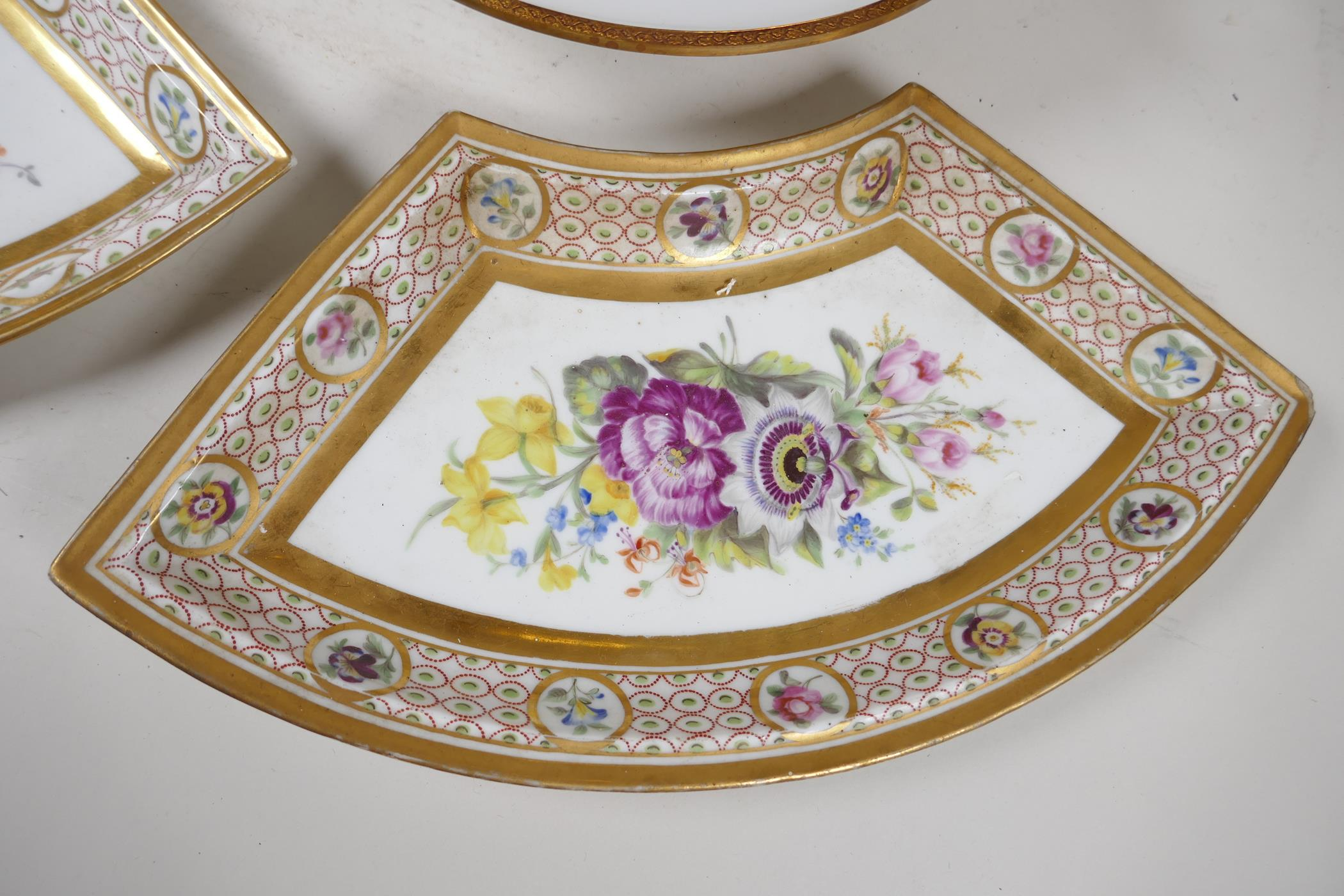 """A continental porcelain and ormolu tazza painted with flowers, 9½"""" diameter, together with a pair of - Image 3 of 6"""