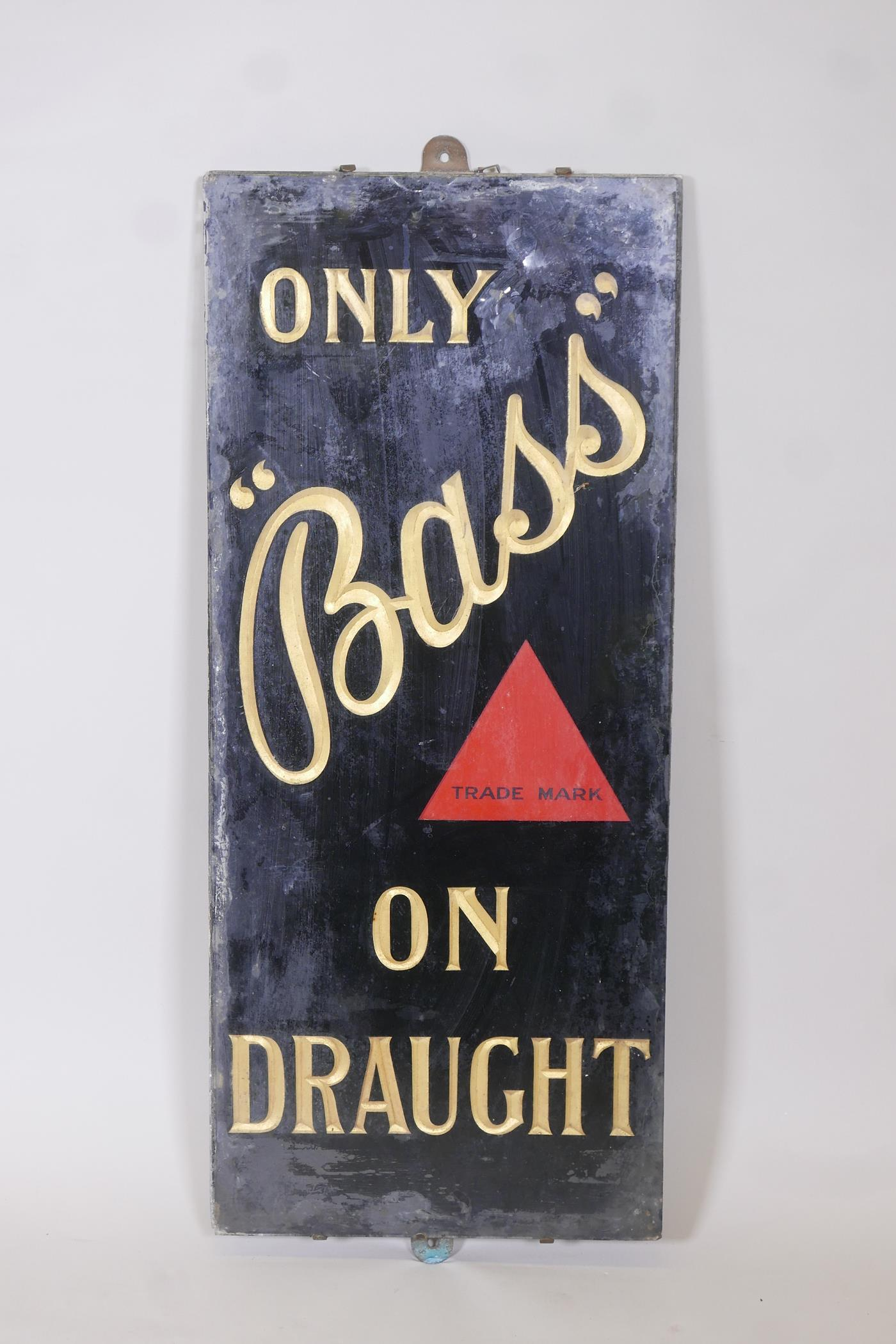 """A glass and slate 'Bass' beer advertising sign, 13"""" x 30"""""""