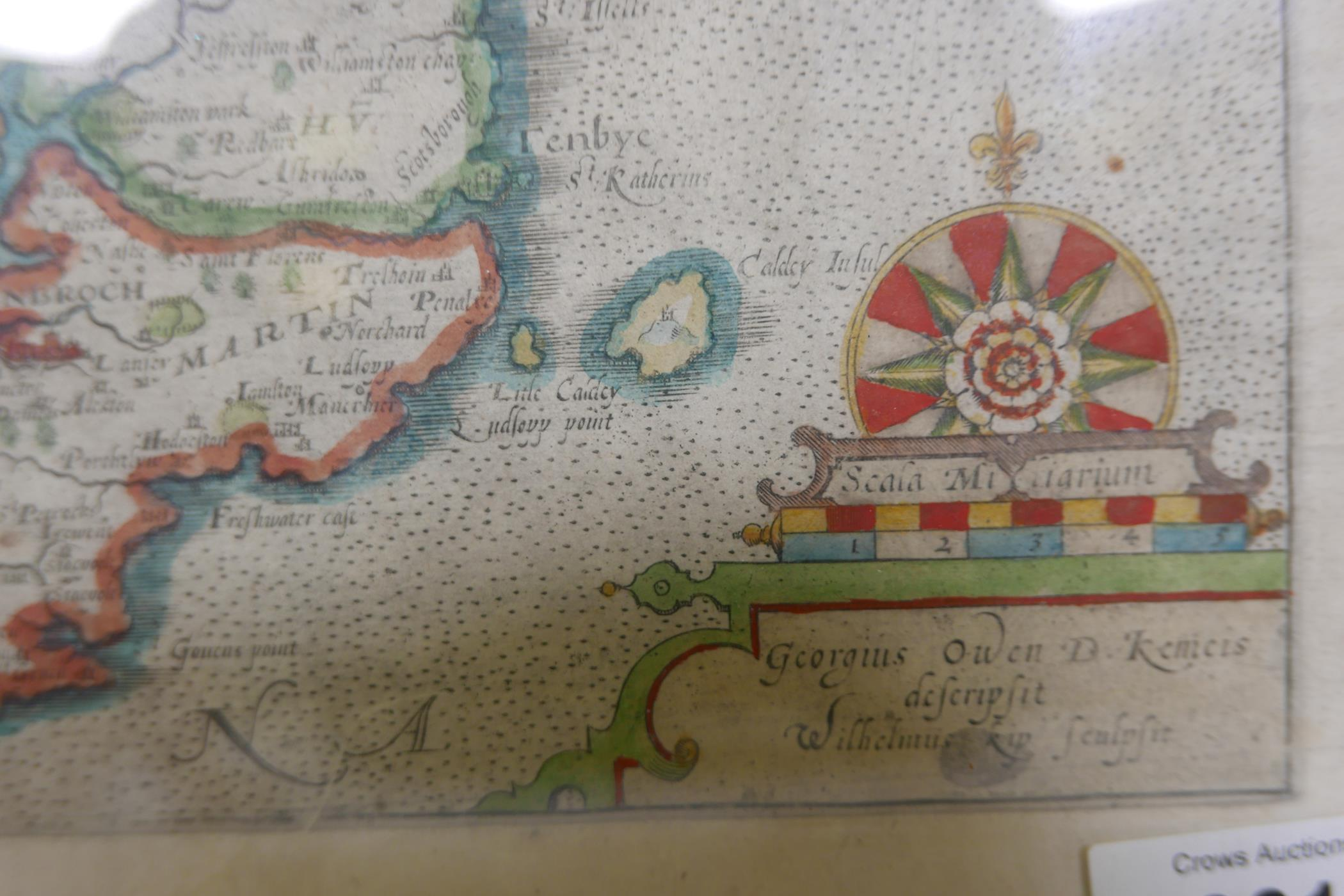 Wilhemus Kip, early C17th map of Pembroke (Pembrok) after surveys by George Owen, later hand - Image 3 of 4
