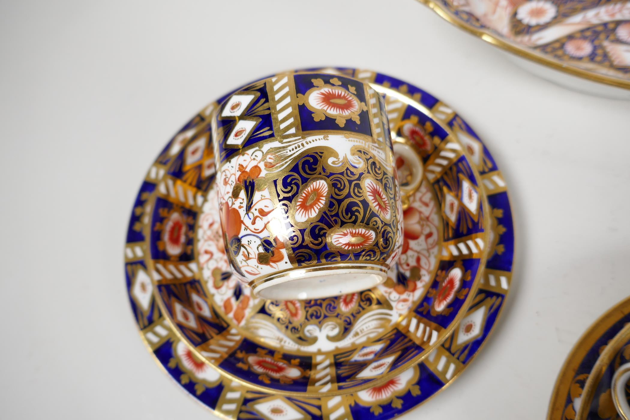 """Two Derby Japan pattern porcelain trios, a plate 8"""", and an oval bowl - Image 2 of 5"""