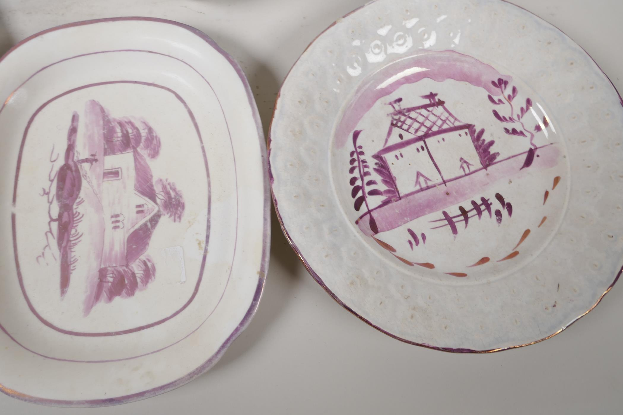 """A collection of C19th lustreware porcelain to include a Sunderland 'Flying Cloud' plaque, 9"""" x - Image 4 of 7"""