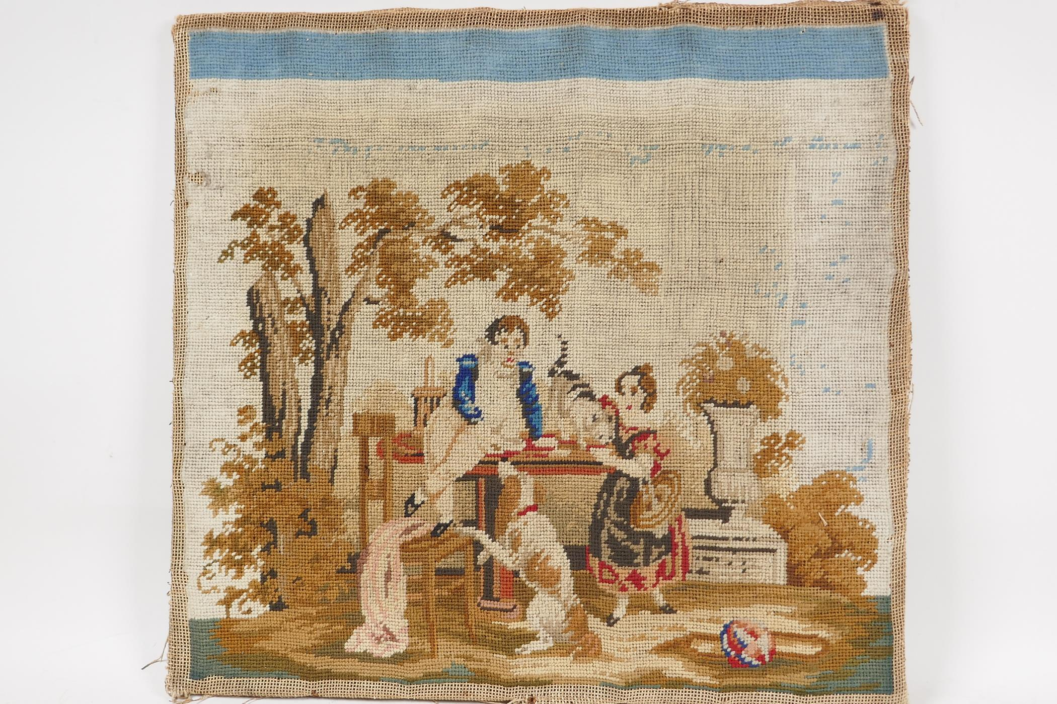 """A C19th woolwork, children at a table with dog and cat, 15"""" square - Image 3 of 3"""