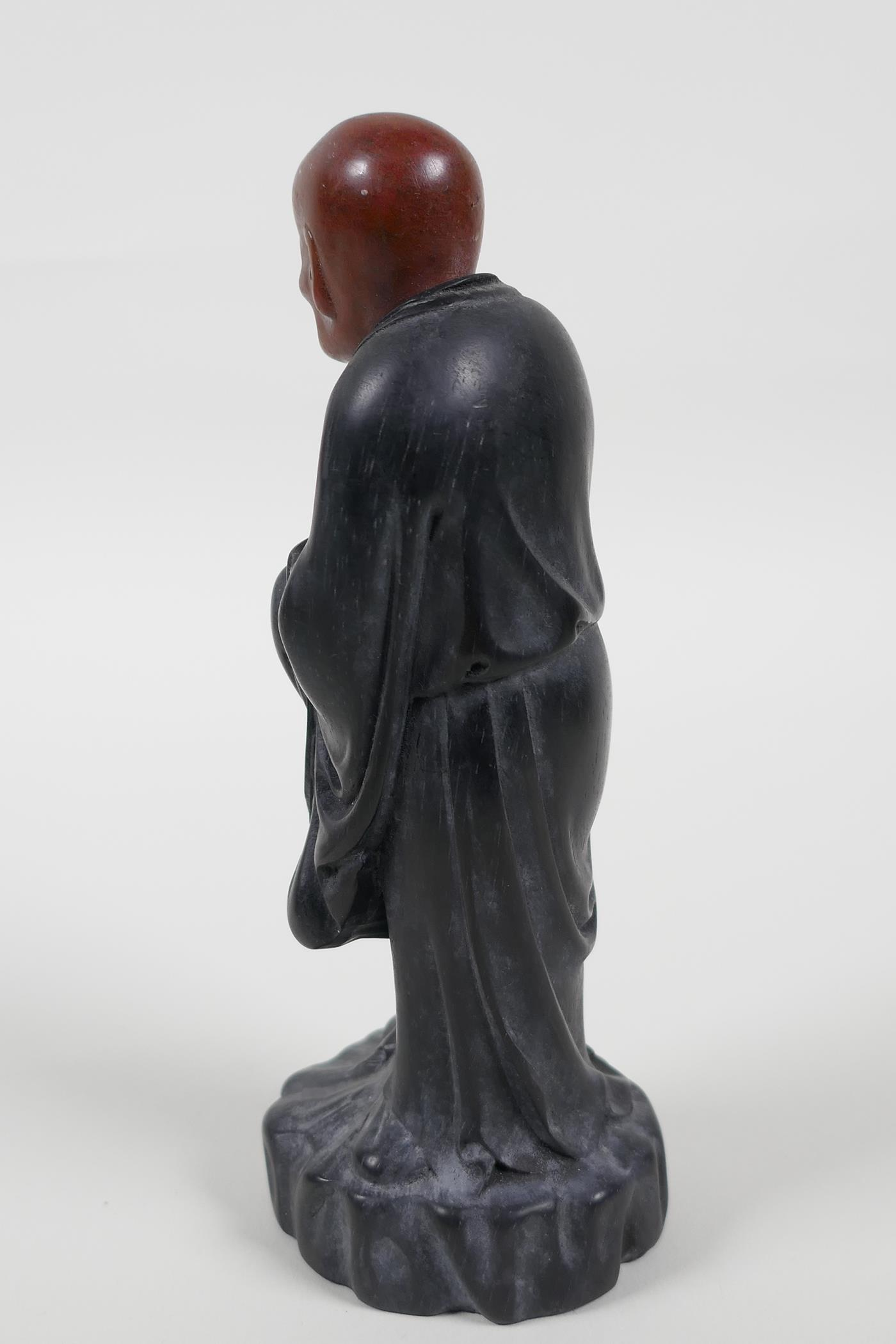 """A Chinese carved Zitan wood figure of Lohan with soapstone head, 6"""" high - Image 4 of 6"""