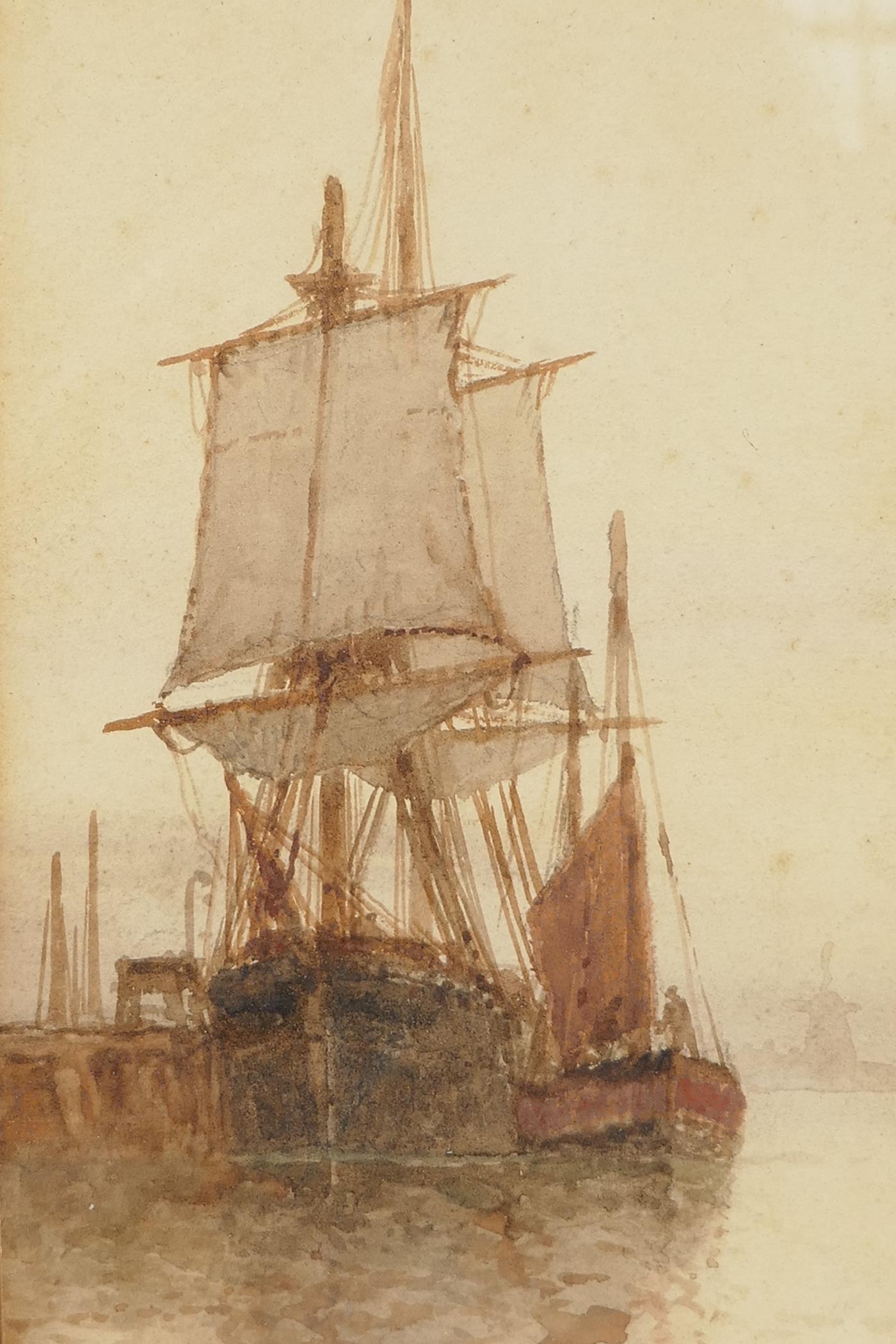 """F.J. Aldridge, sailing vessels near a jetty, monogrammed, watercolour, 14"""" x 6"""""""