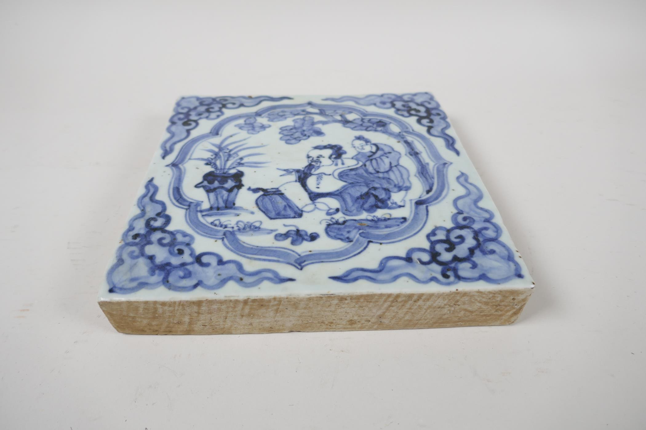 """A Ming style blue and white porcelain temple tile with figural decoration, Chinese, 7½"""" x 7½"""" - Image 2 of 3"""