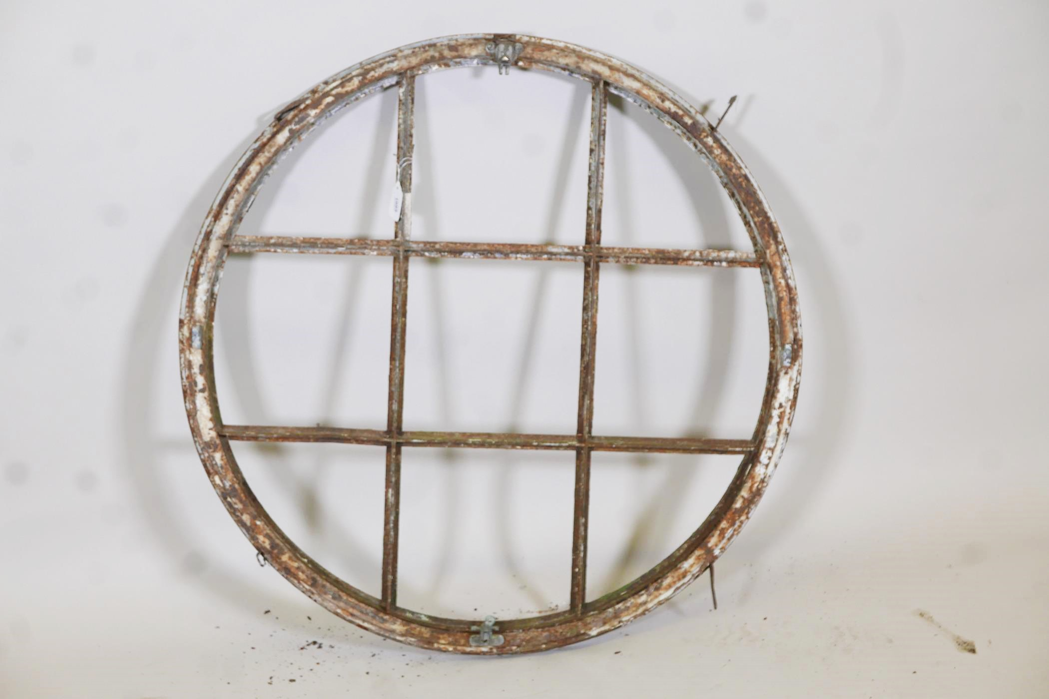 """Architectural salvage, a painted metal window frame, 36"""" diameter - Image 3 of 3"""