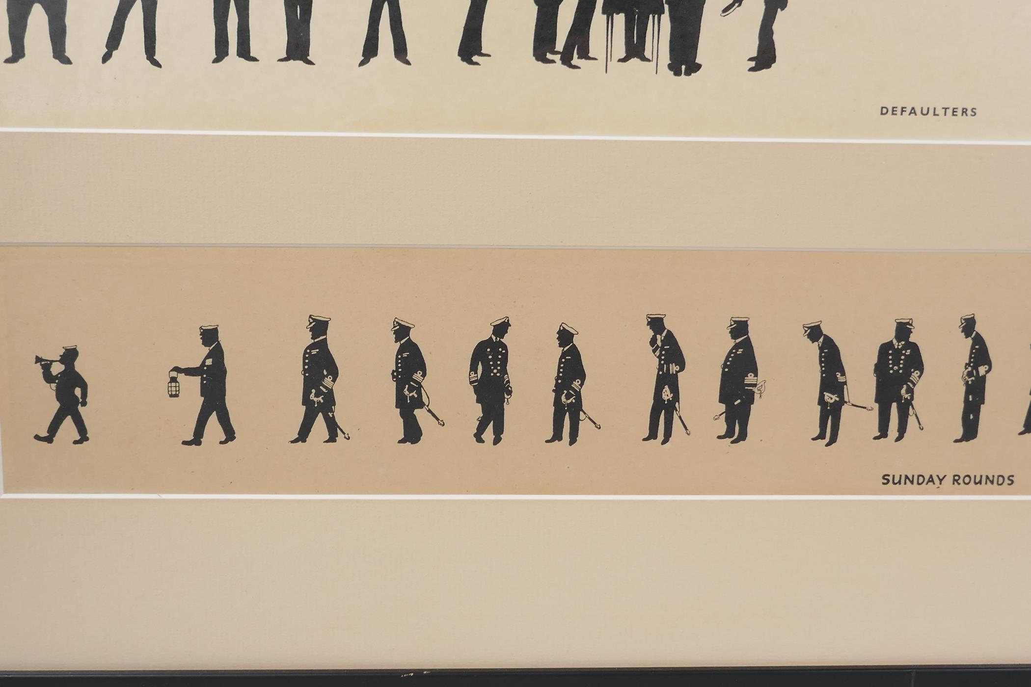 A.M. Hughes, three silhouette prints of naval life, Grog, Defaulters and Sunday Rounds, mounted in a - Image 7 of 9