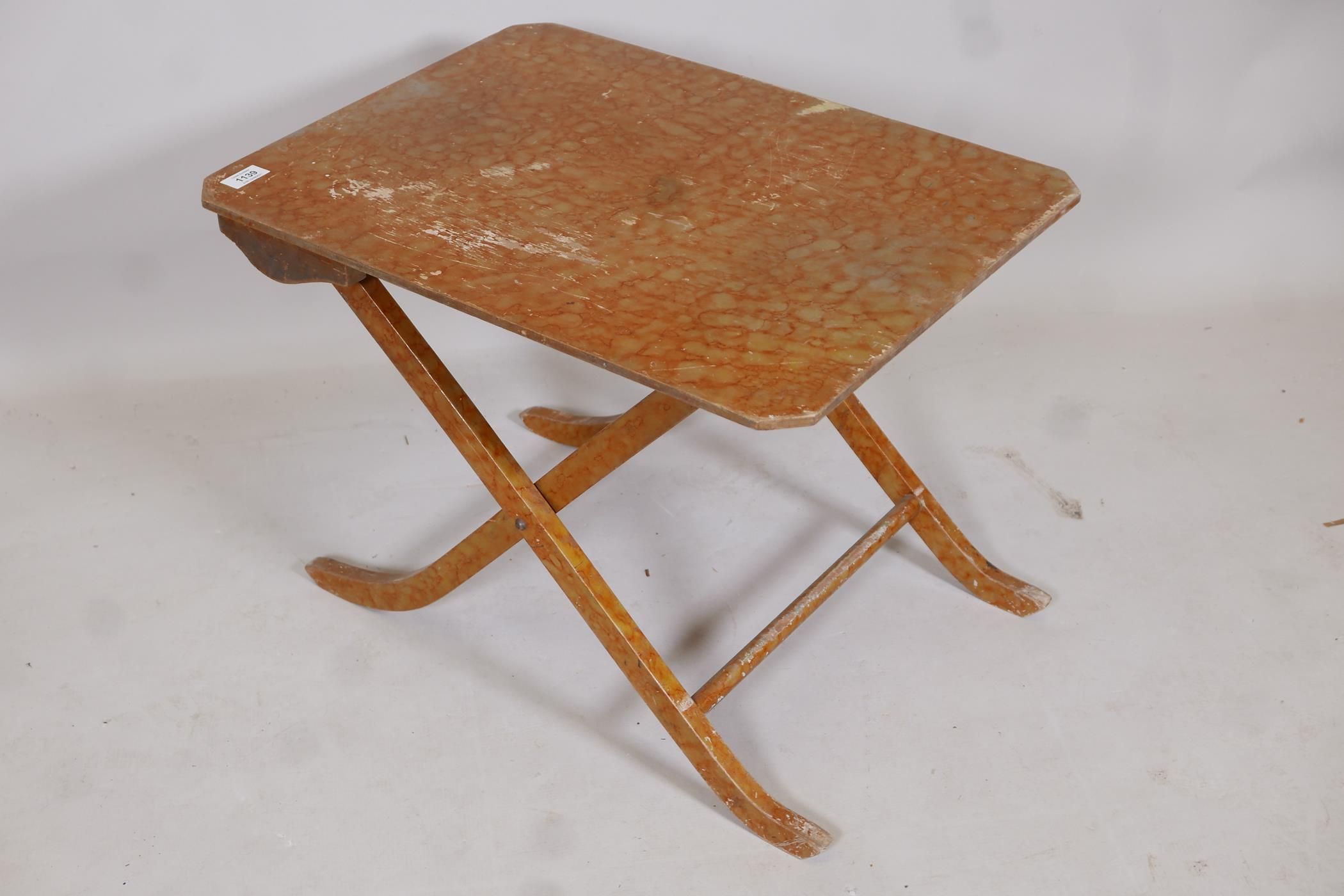 A metamorphic table/chair, early C20th, in original painted finish - Image 4 of 4