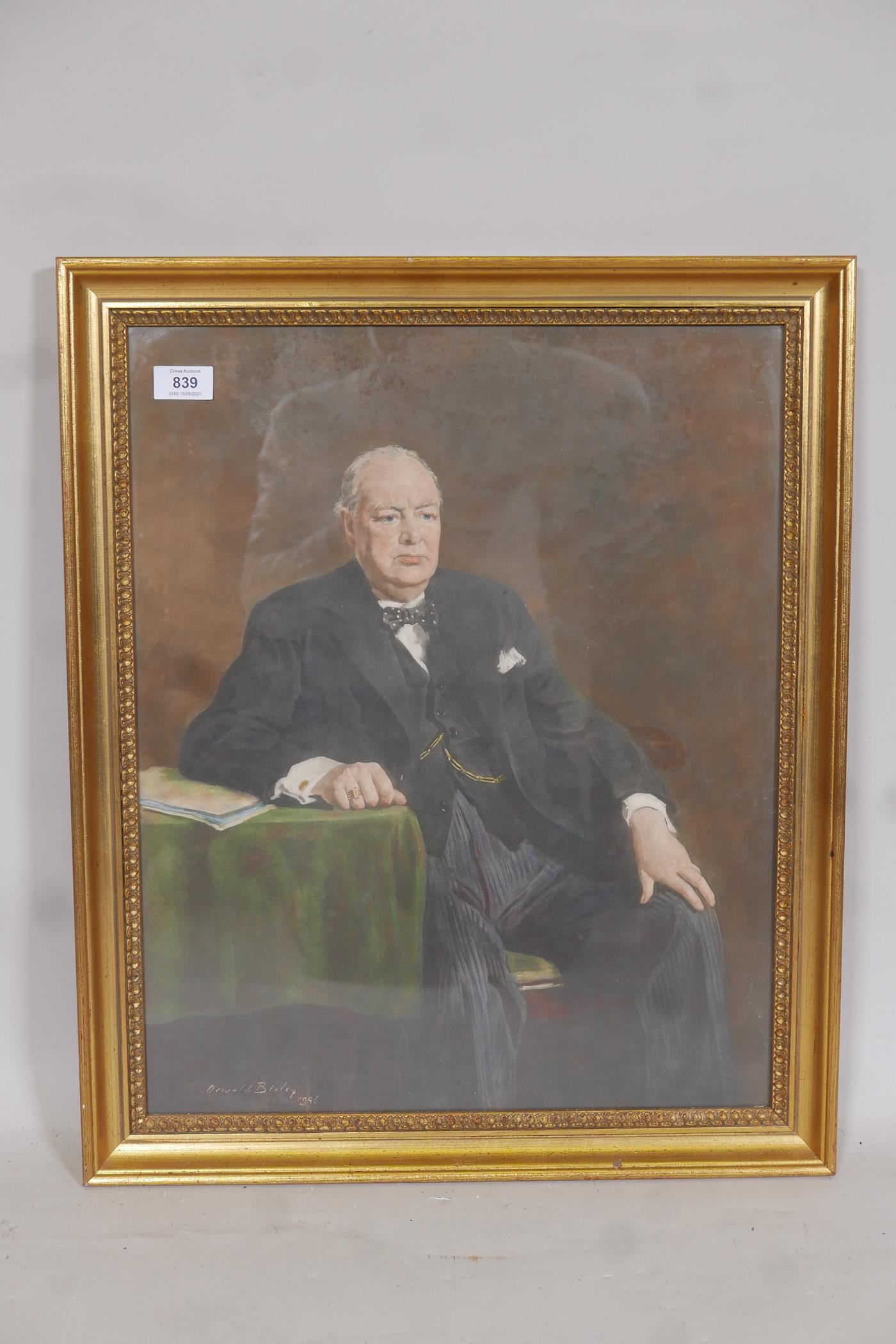 """After Oswald Birley, lithographic print of Sir Winston Churchill, 17"""" x 22"""" - Image 2 of 3"""