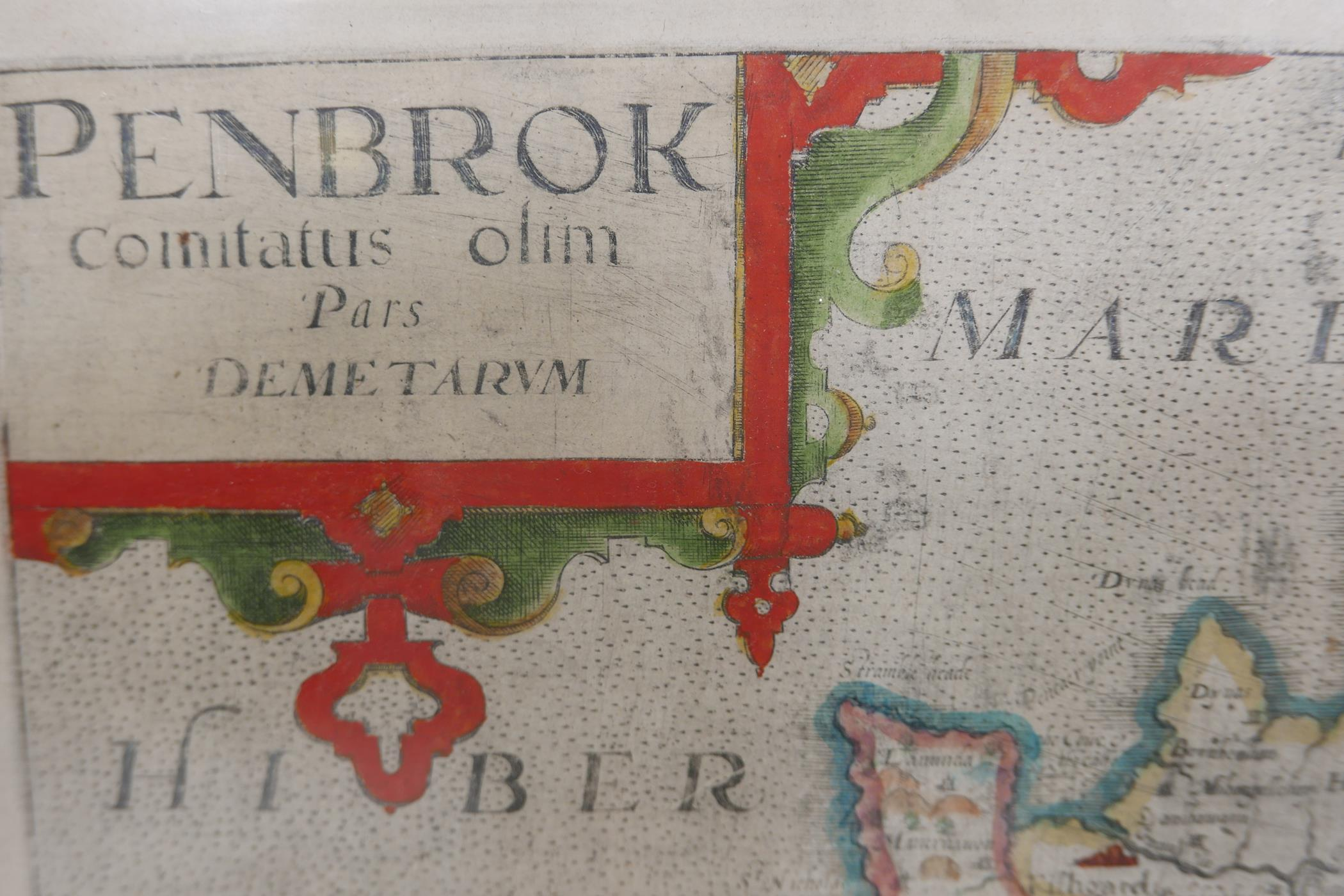 Wilhemus Kip, early C17th map of Pembroke (Pembrok) after surveys by George Owen, later hand - Image 4 of 4