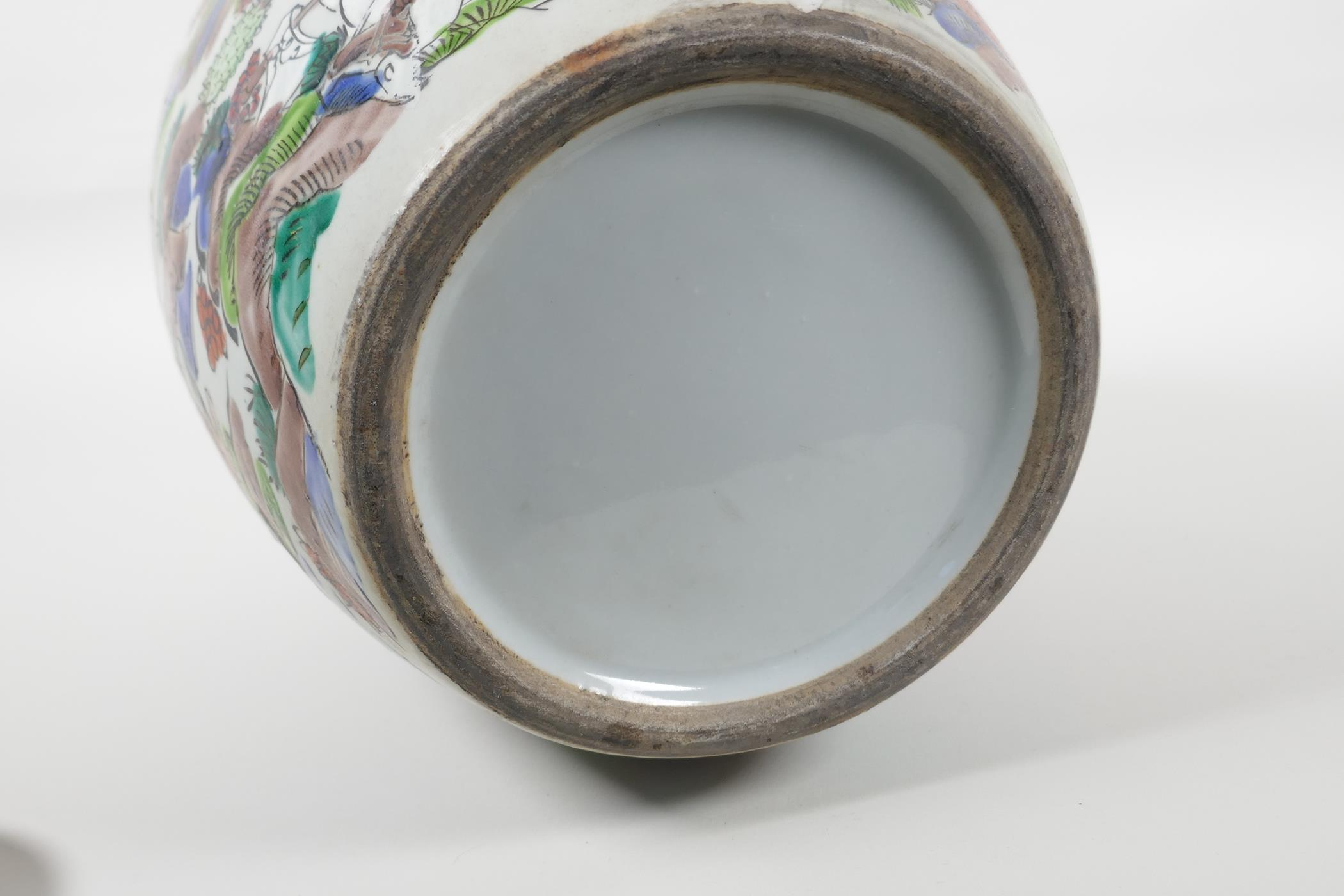 """A Chinese famille vert porcelain ginger jar and cover, decorated with a tiger hunting scene. 12"""" - Image 6 of 6"""