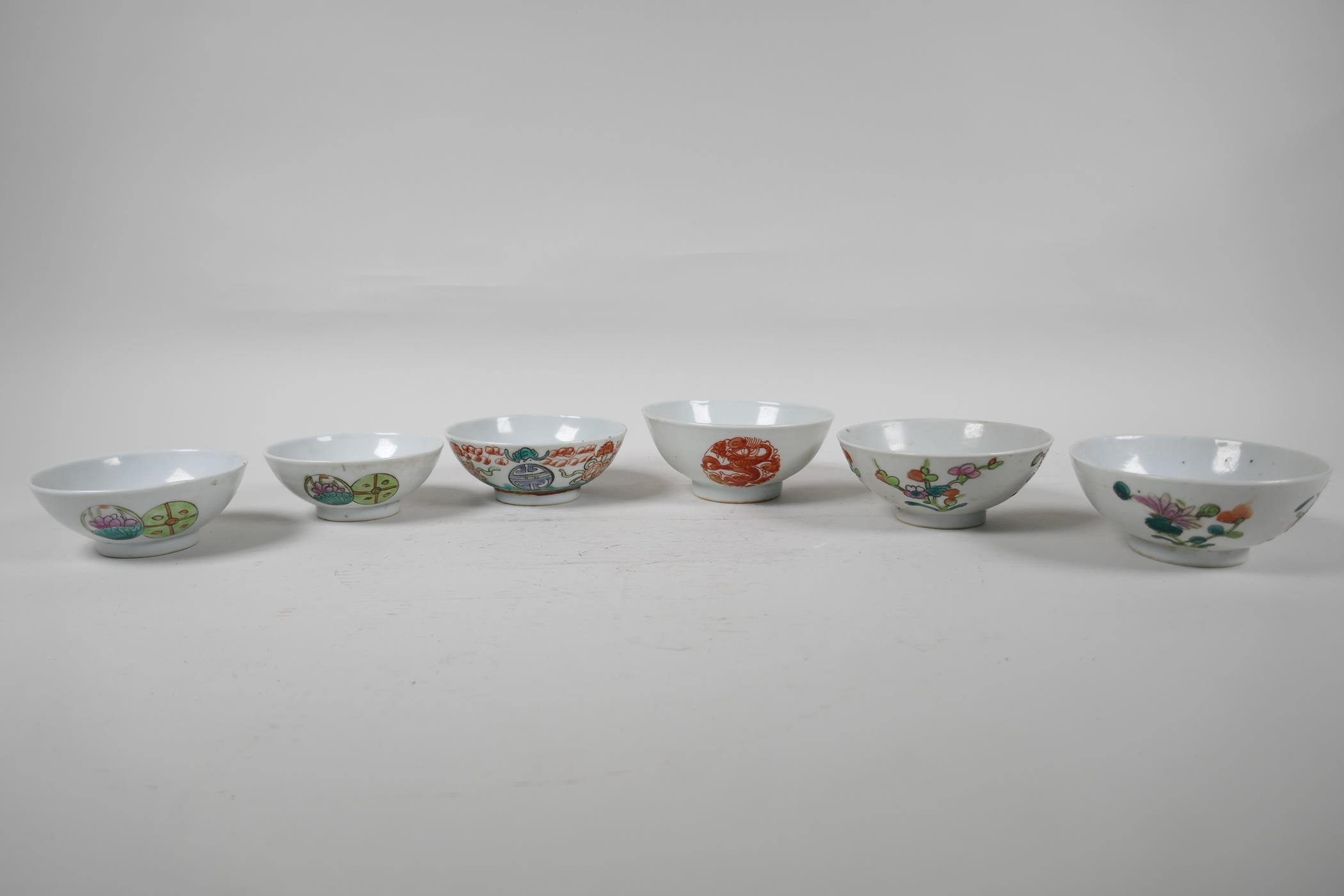 Six assorted Chinese republic period porcelain tea bowls with famille rose and vert enamel