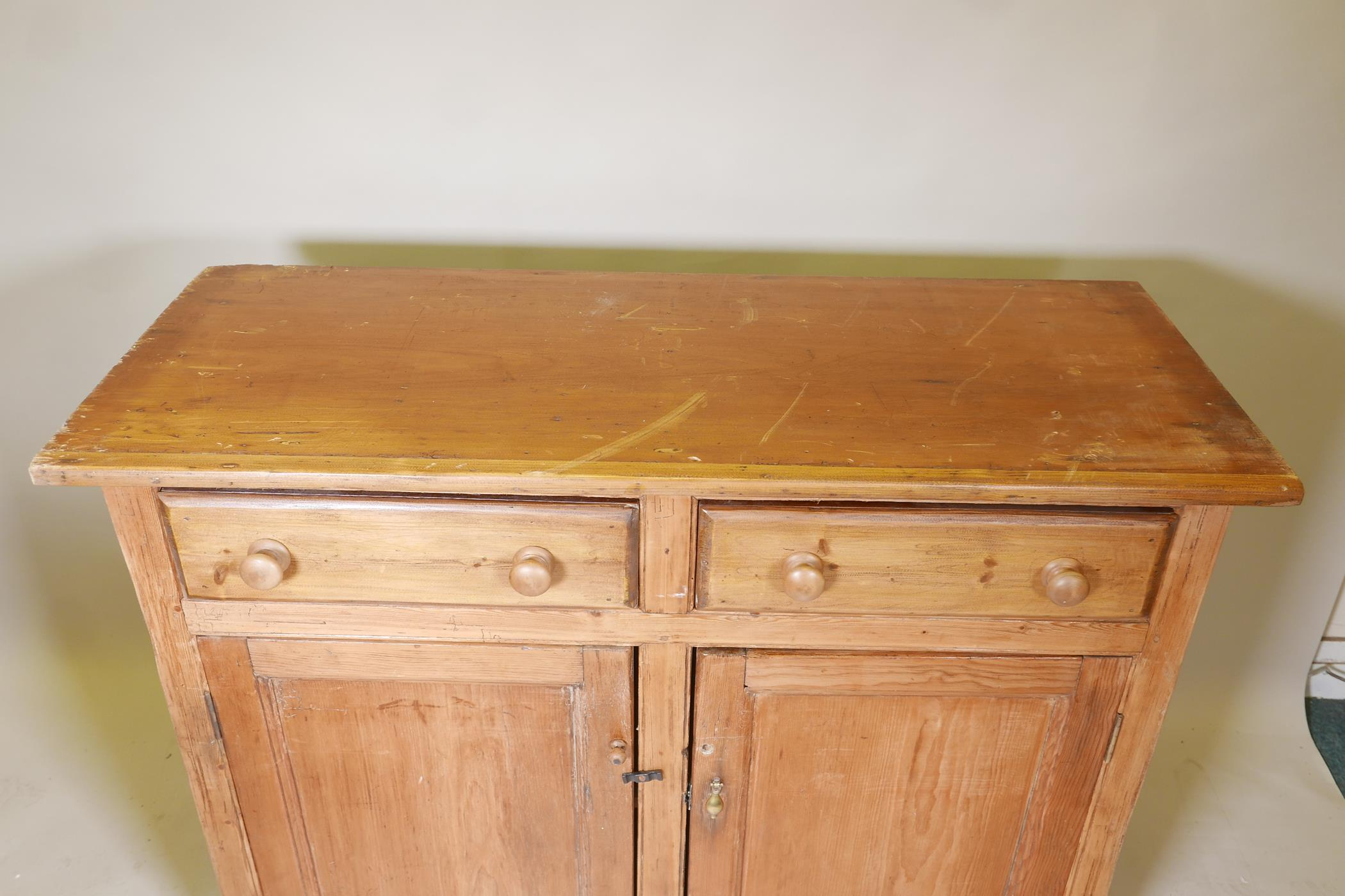 """A C19th pine buffet of two drawers over two cupboards, 52"""" x 21"""", 39"""" high - Image 3 of 3"""