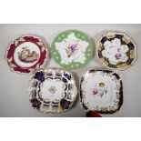 Five decorative C19th English pottery plates with painted decoration, various factories from the