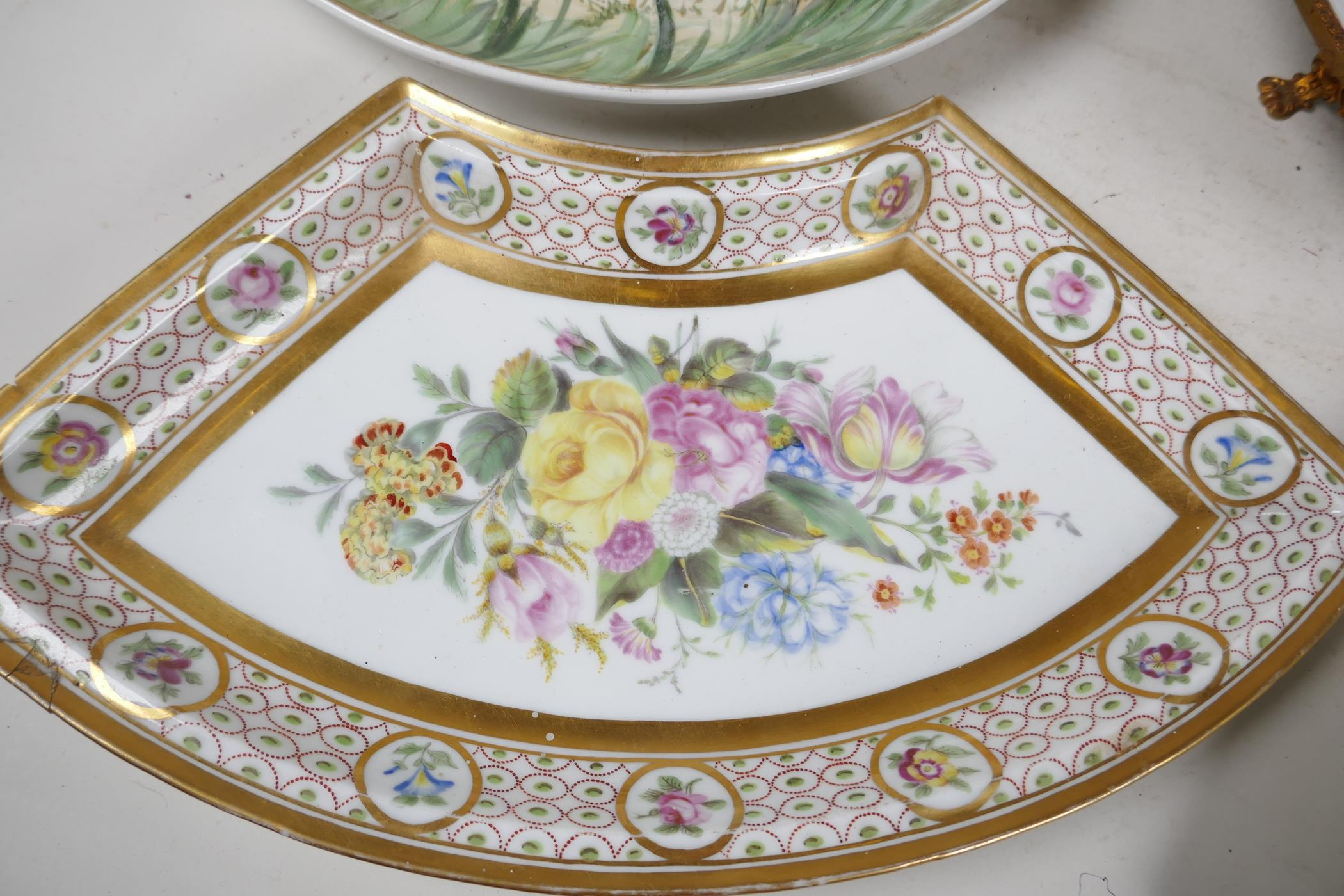"""A continental porcelain and ormolu tazza painted with flowers, 9½"""" diameter, together with a pair of - Image 2 of 6"""