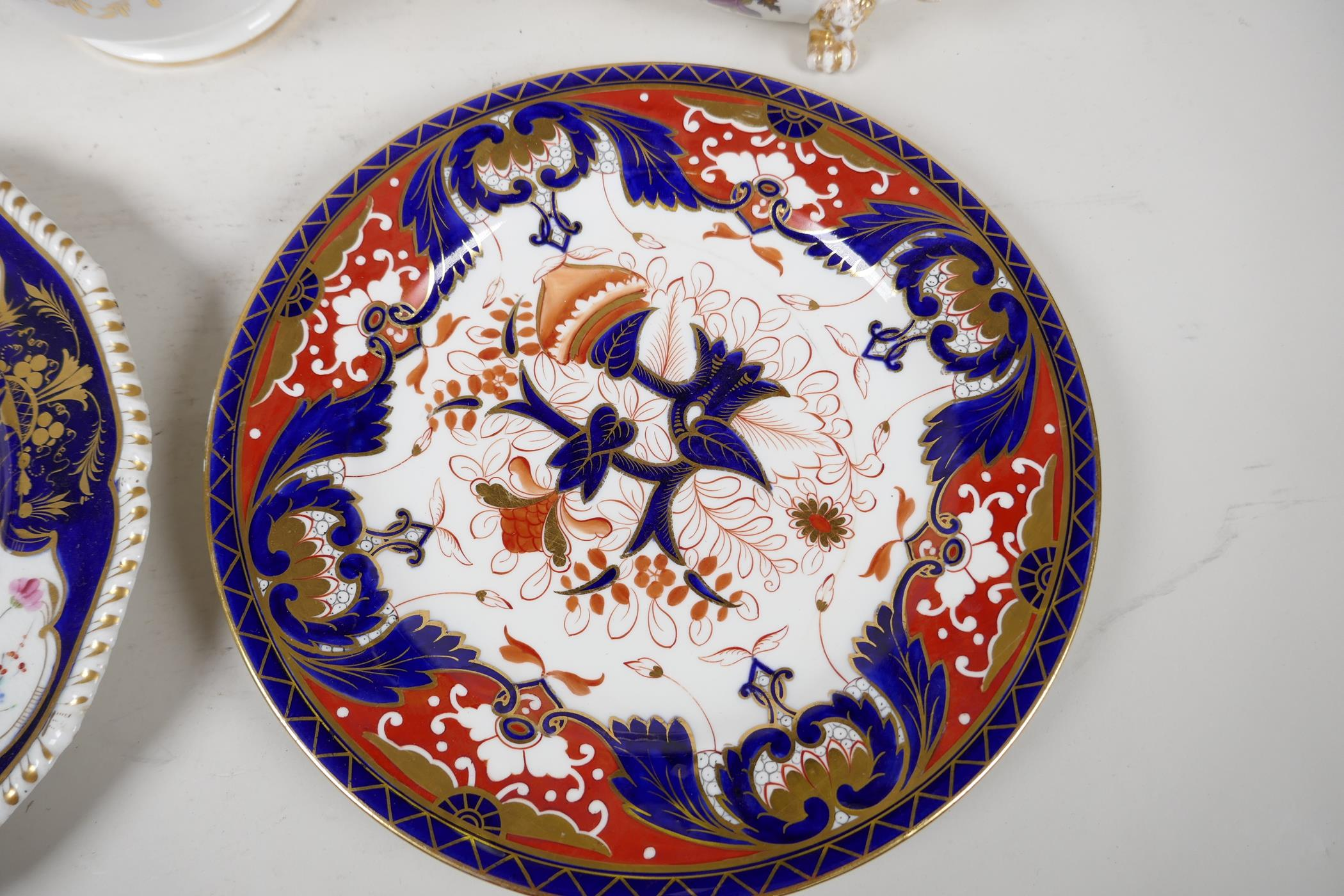 """A Crown Derby sauce tureen and cover, with hand painted flowers and gilt highlights, 6½"""" wide, and - Image 3 of 7"""