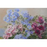 Ayres Hawkins, still life, flowers, oil on canvas, signed and inscribed verso Padstow 1972