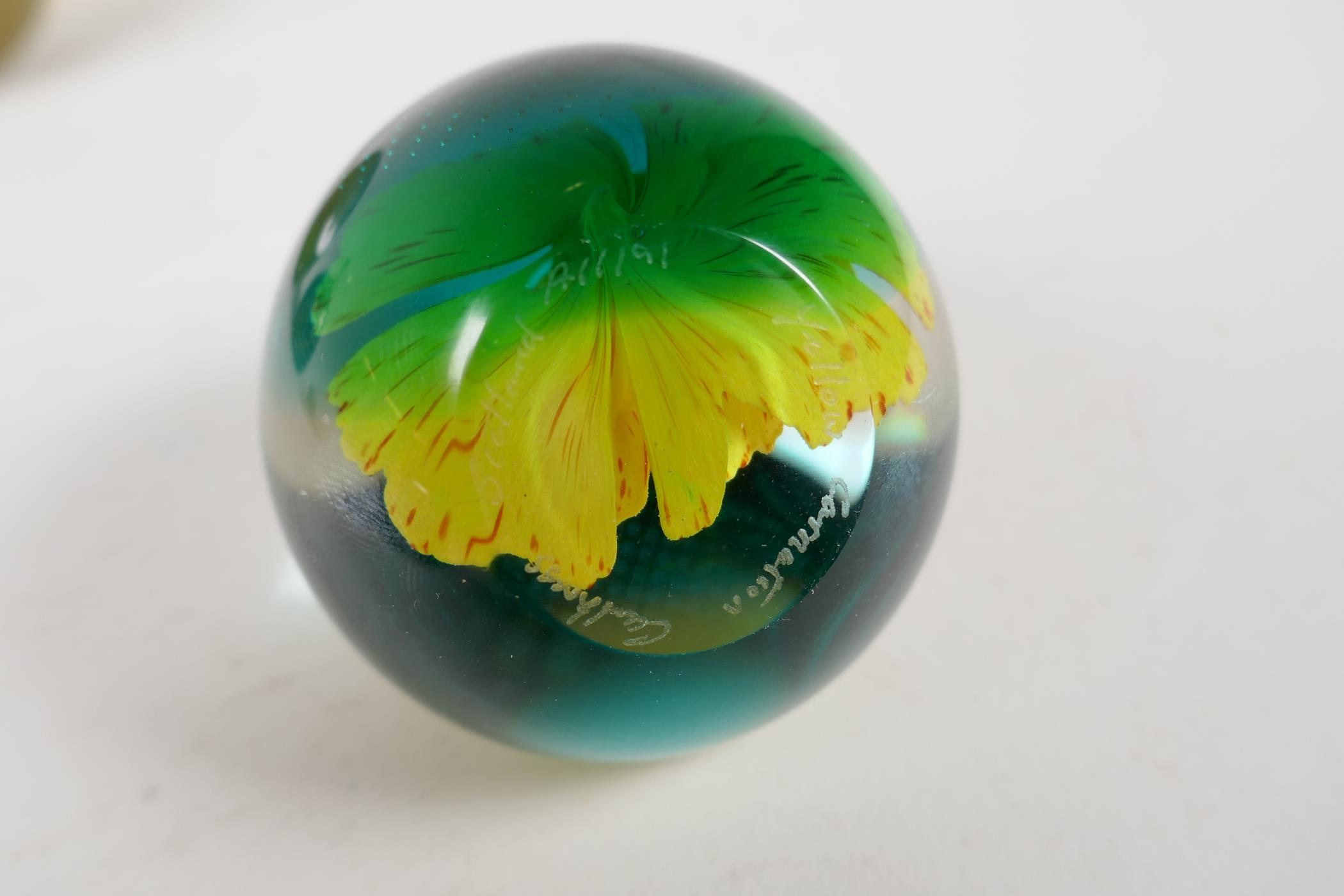 A 1930s Scottish floral glass paperweight by Salvador Ysart, a Caithness yellow carnation glass - Image 6 of 7