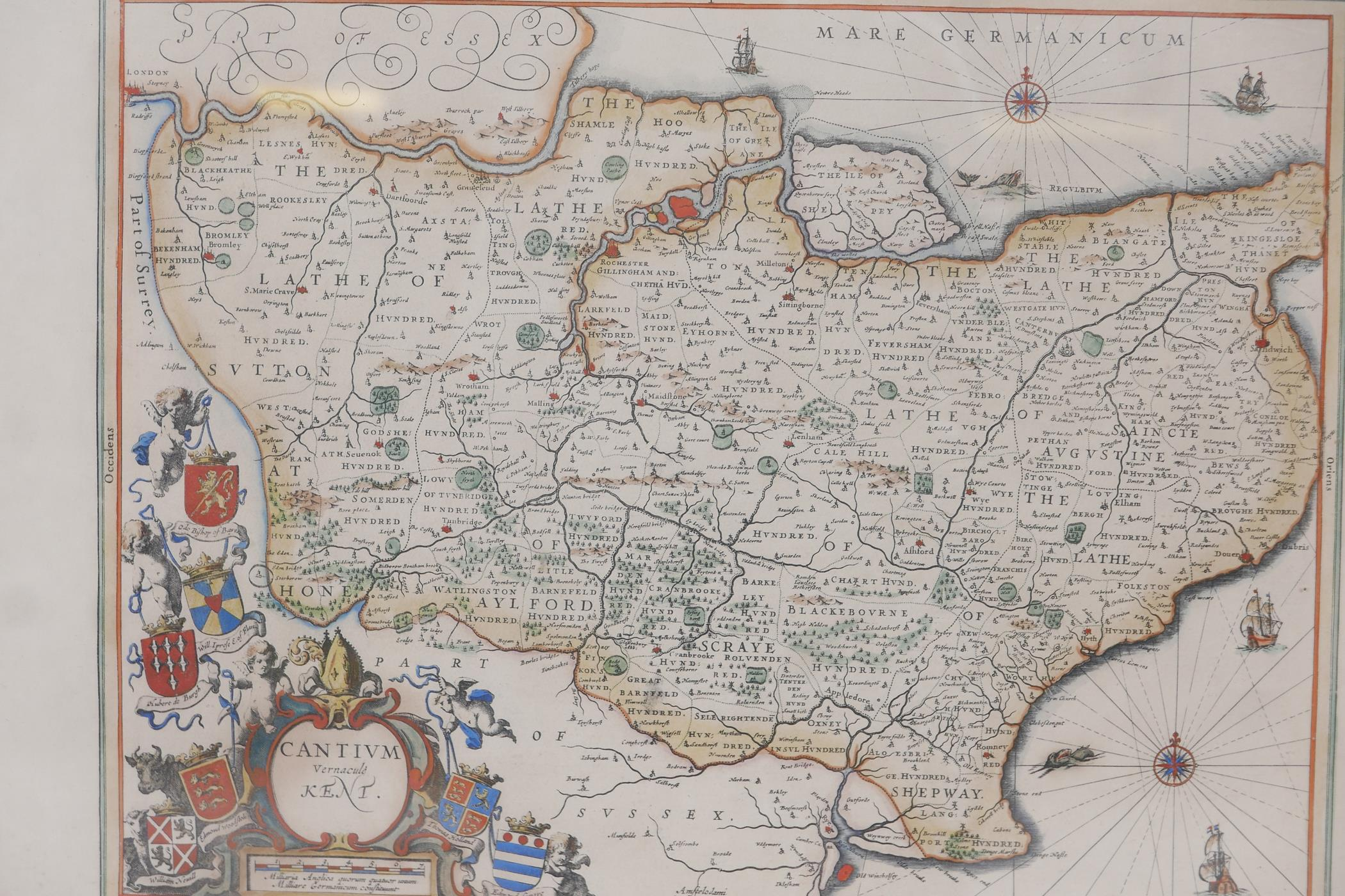 Map of Kent, Cantium vernacule Kent, and another of Surrey, Surria vernacule Surrey, both hand - Image 4 of 5