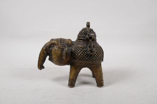 """An Indian bronze elephant censer with pierced cover, 6"""" high"""