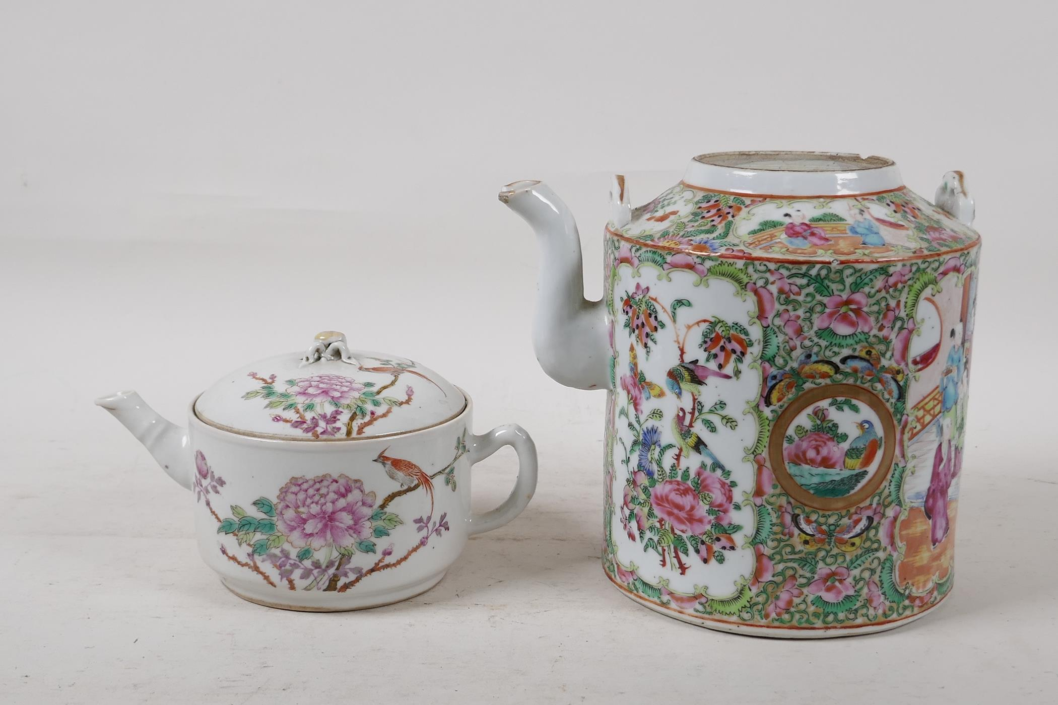 A Cantonese famille rose teapot decorated with figures, birds and flowers, A/F, and a republic