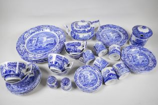 """A Copeland 'Spode Italian' blue and white pottery part tea and coffee service, with five 10½"""""""