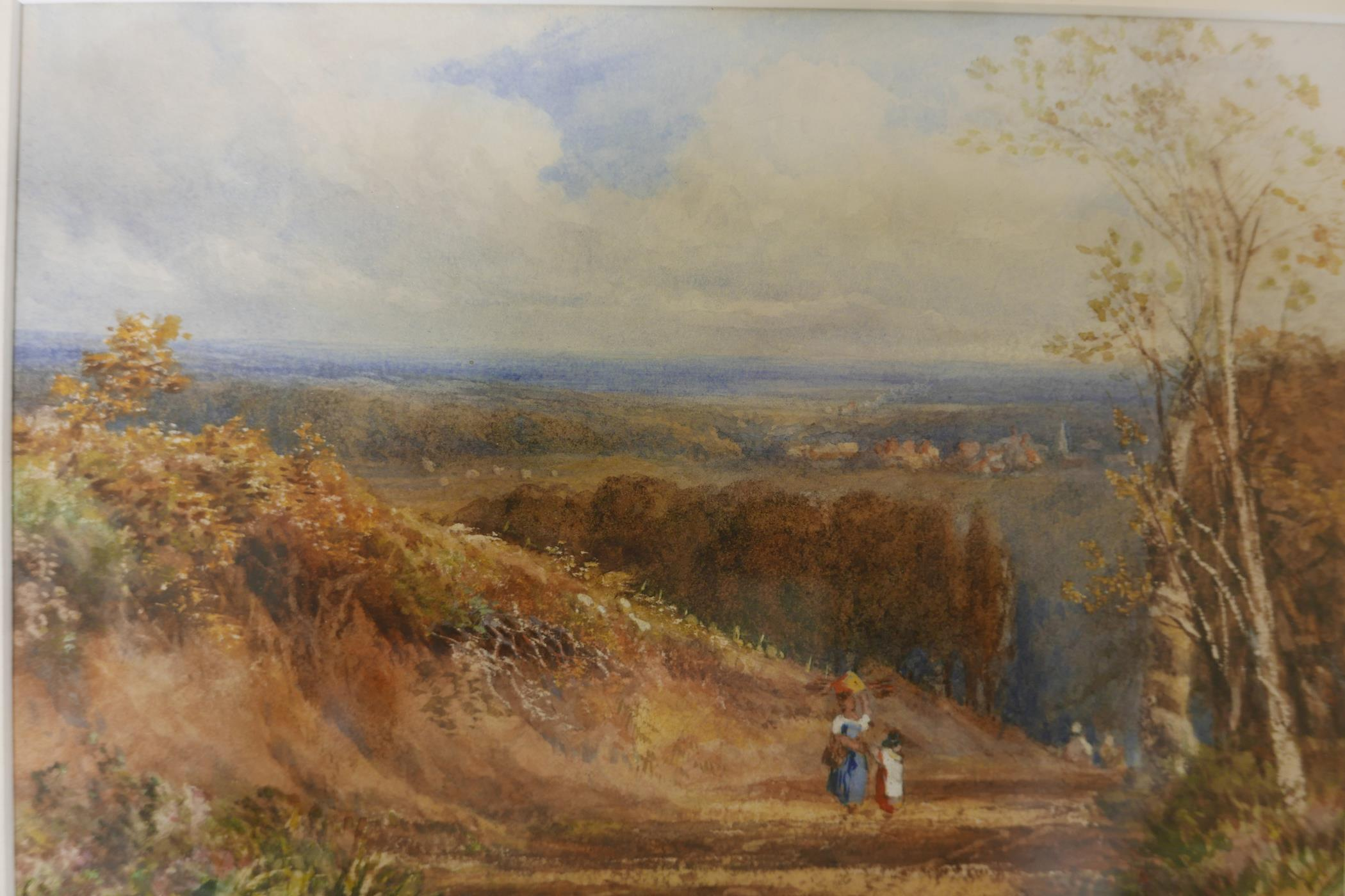 Extensive landscape with figures on a path, signed indistinctly Cath Huggiss ?, C19th watercolour,