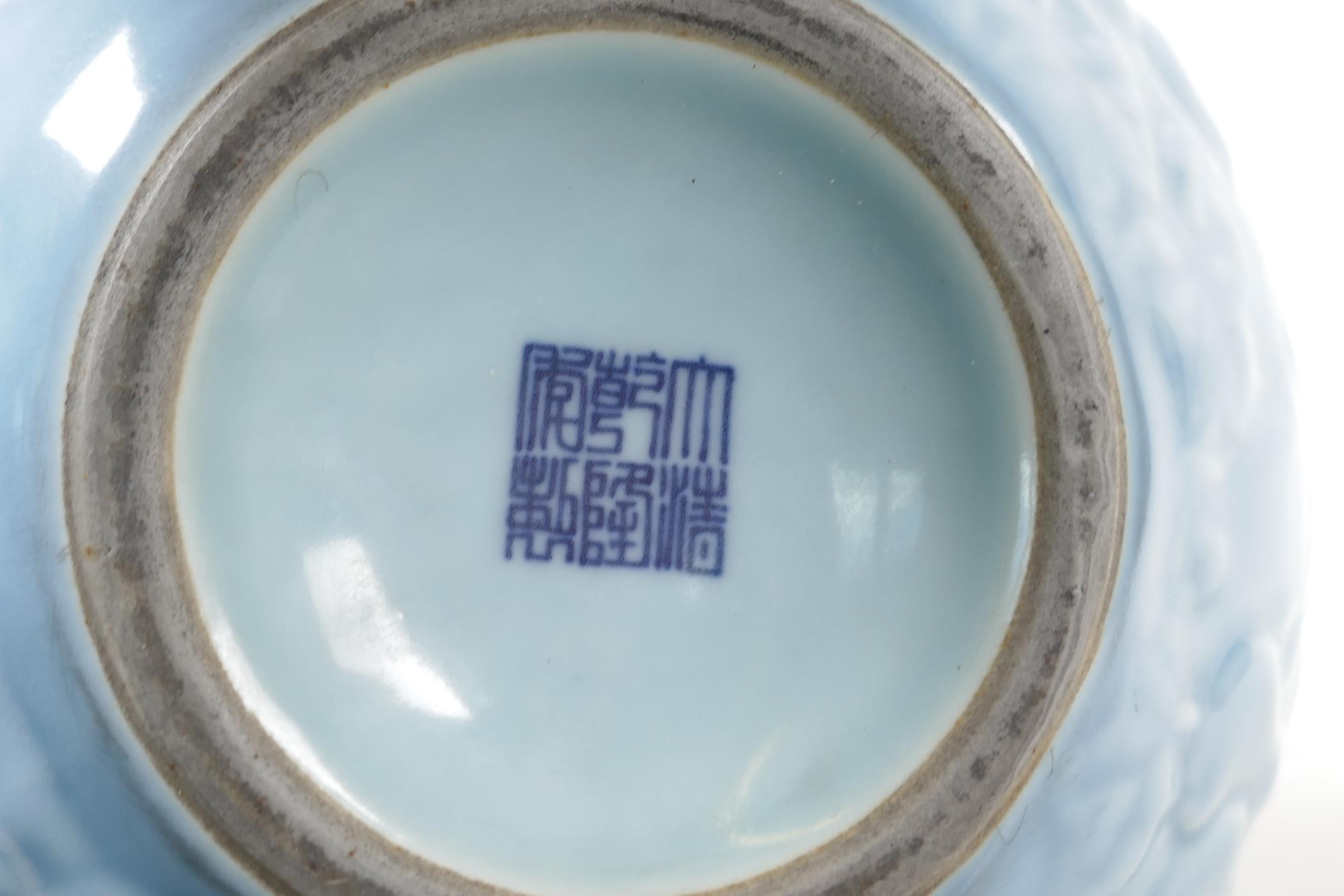 A Chinese blue glazed porcelain double gourd vase, with all over raised gourd vine decoration, - Image 4 of 4