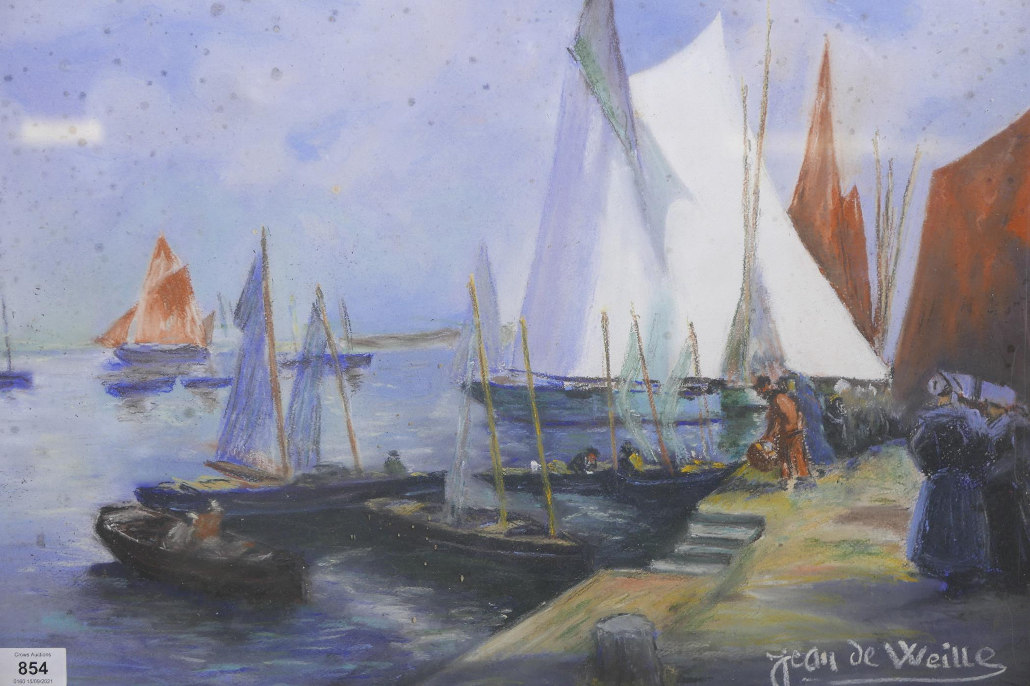 """Jean de Weille, harbour scene with sail boats, pastel, signed, 23"""" x 16"""""""