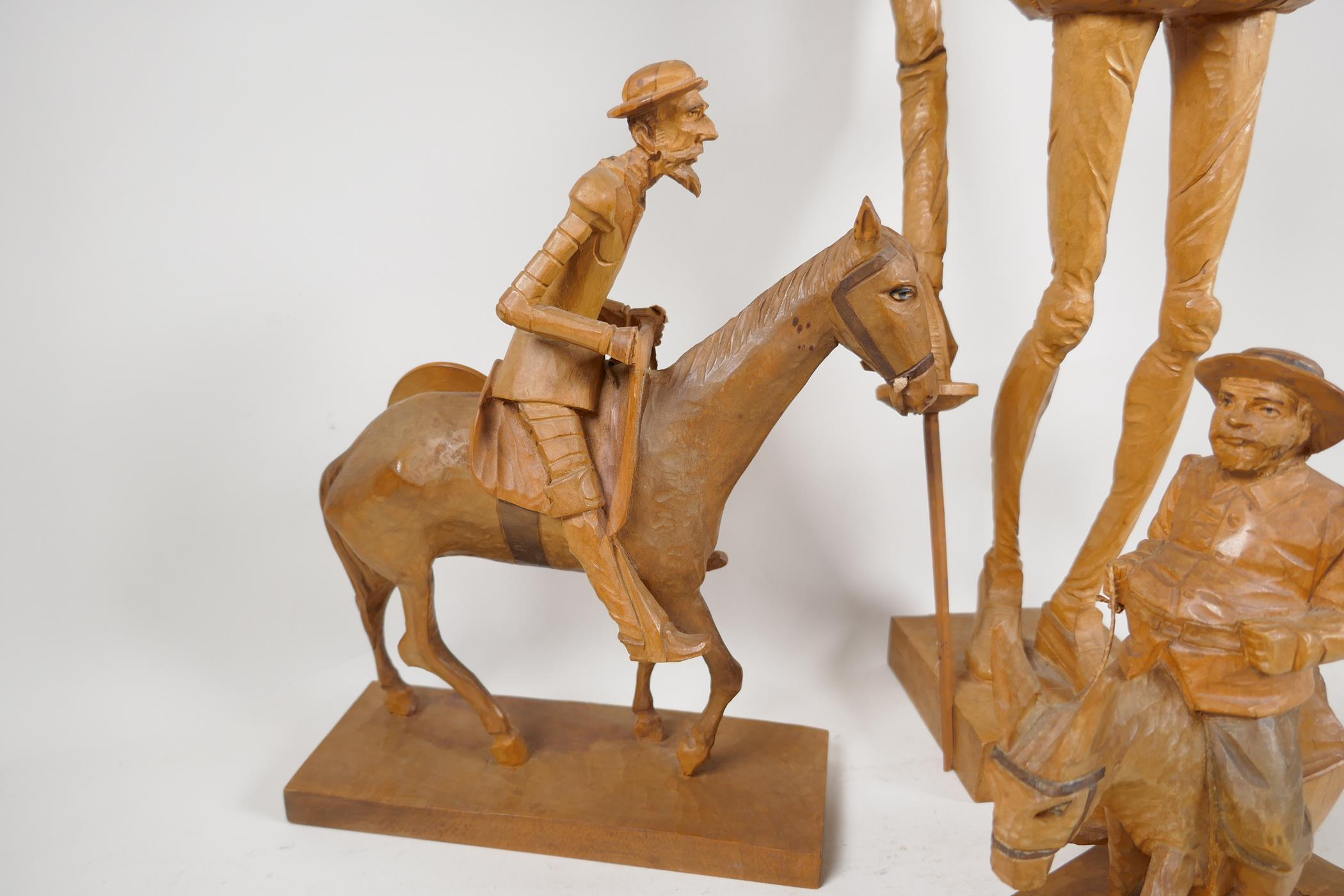 Two carved wood models of Don Quioxte and Sancho Panza, and a carved wood figure of the Don, A/F - Image 6 of 6