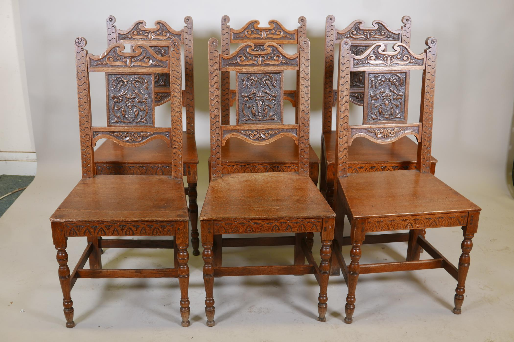 A set of six oak dining chairs with carved backs - Image 2 of 4