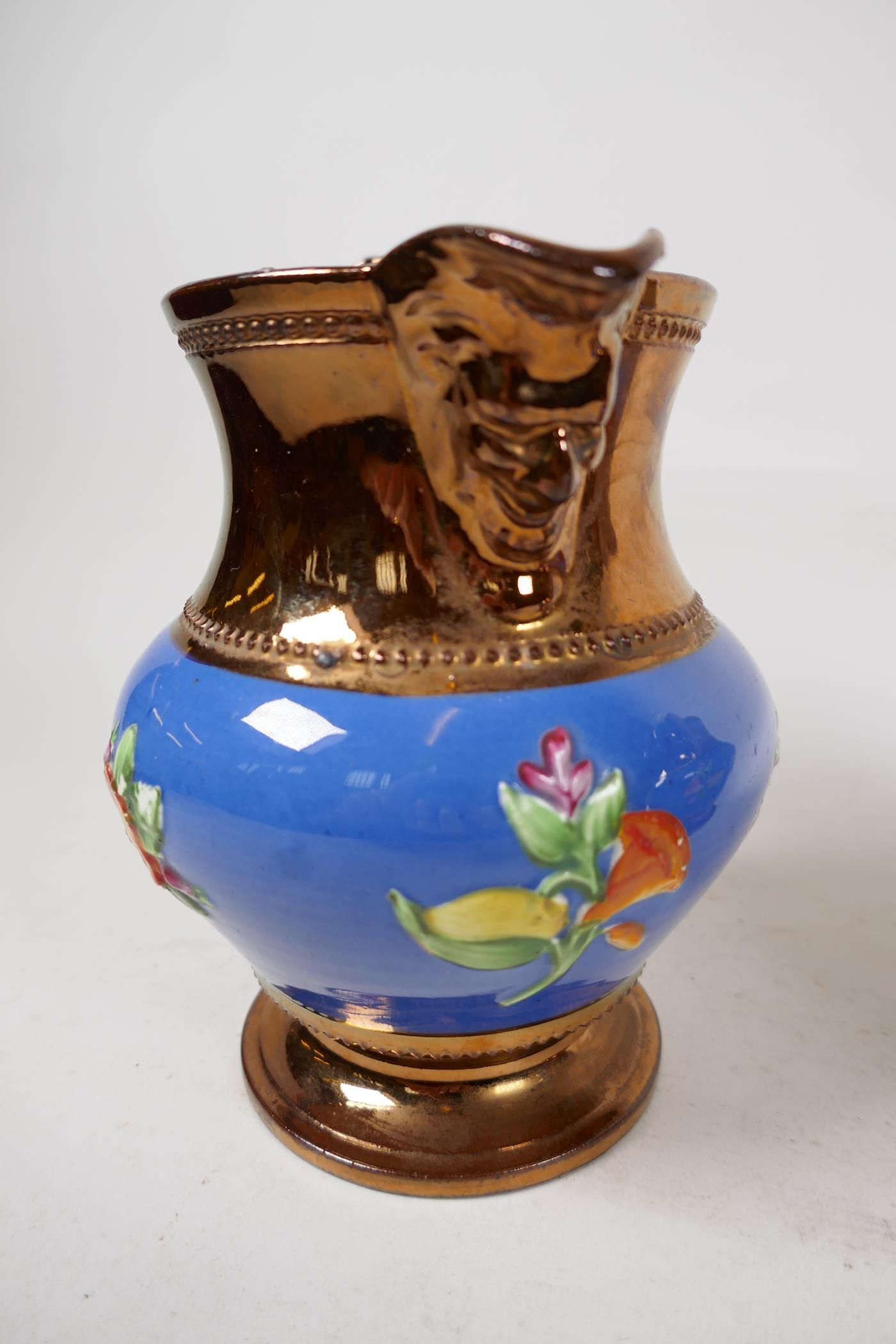 """A pair of C19th lustreware mask jugs decorated with embossed flowers, 6"""" high - Image 3 of 5"""