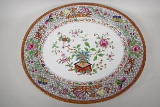 """A Staffordshire meat plate decorated in the oriental manner in bright enamels, 20½"""" x 17"""""""