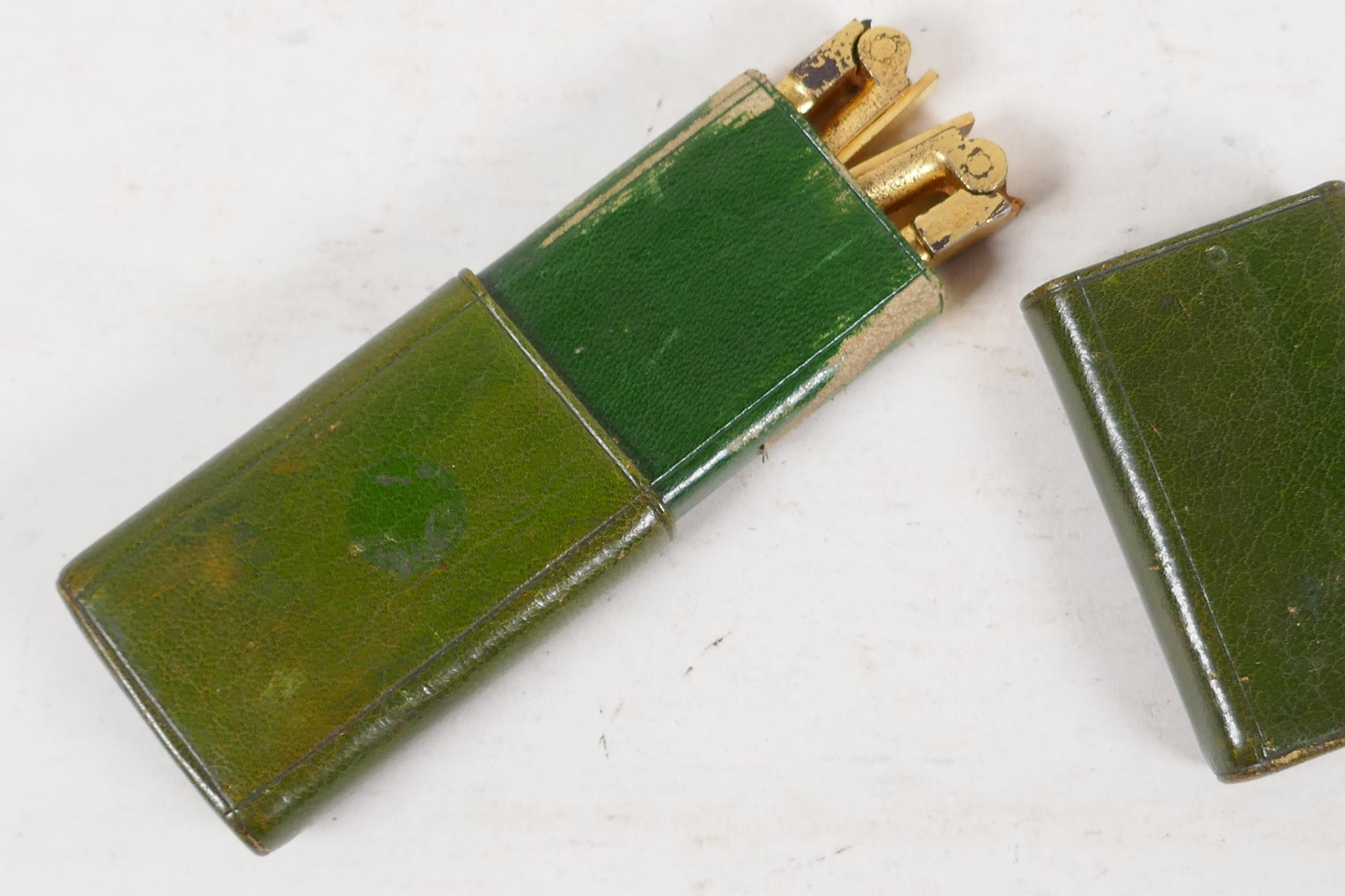A pair of gilt metal folding curling tongs with hallmarked silver handles, London 1905, in a - Image 4 of 6