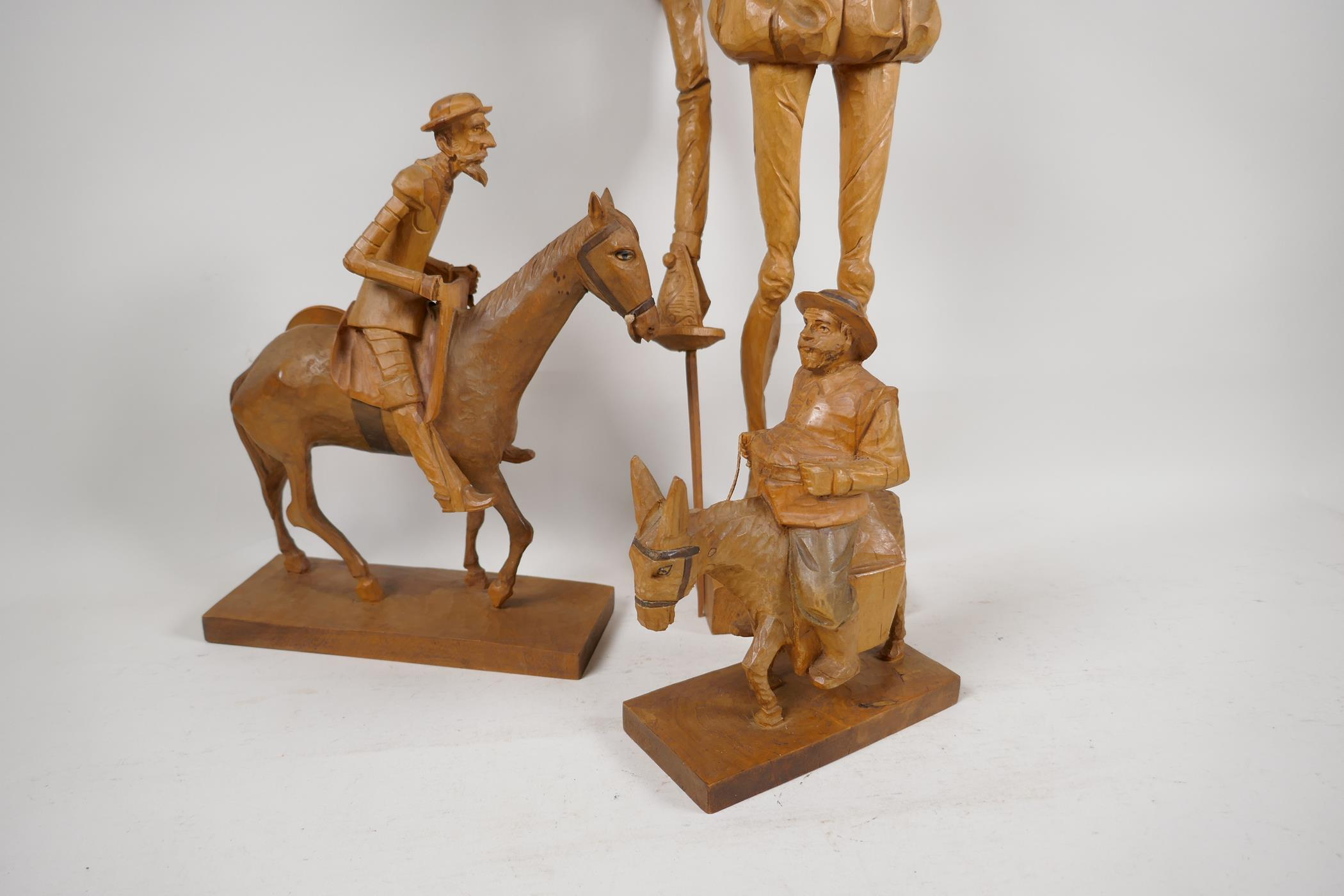 Two carved wood models of Don Quioxte and Sancho Panza, and a carved wood figure of the Don, A/F - Image 4 of 6