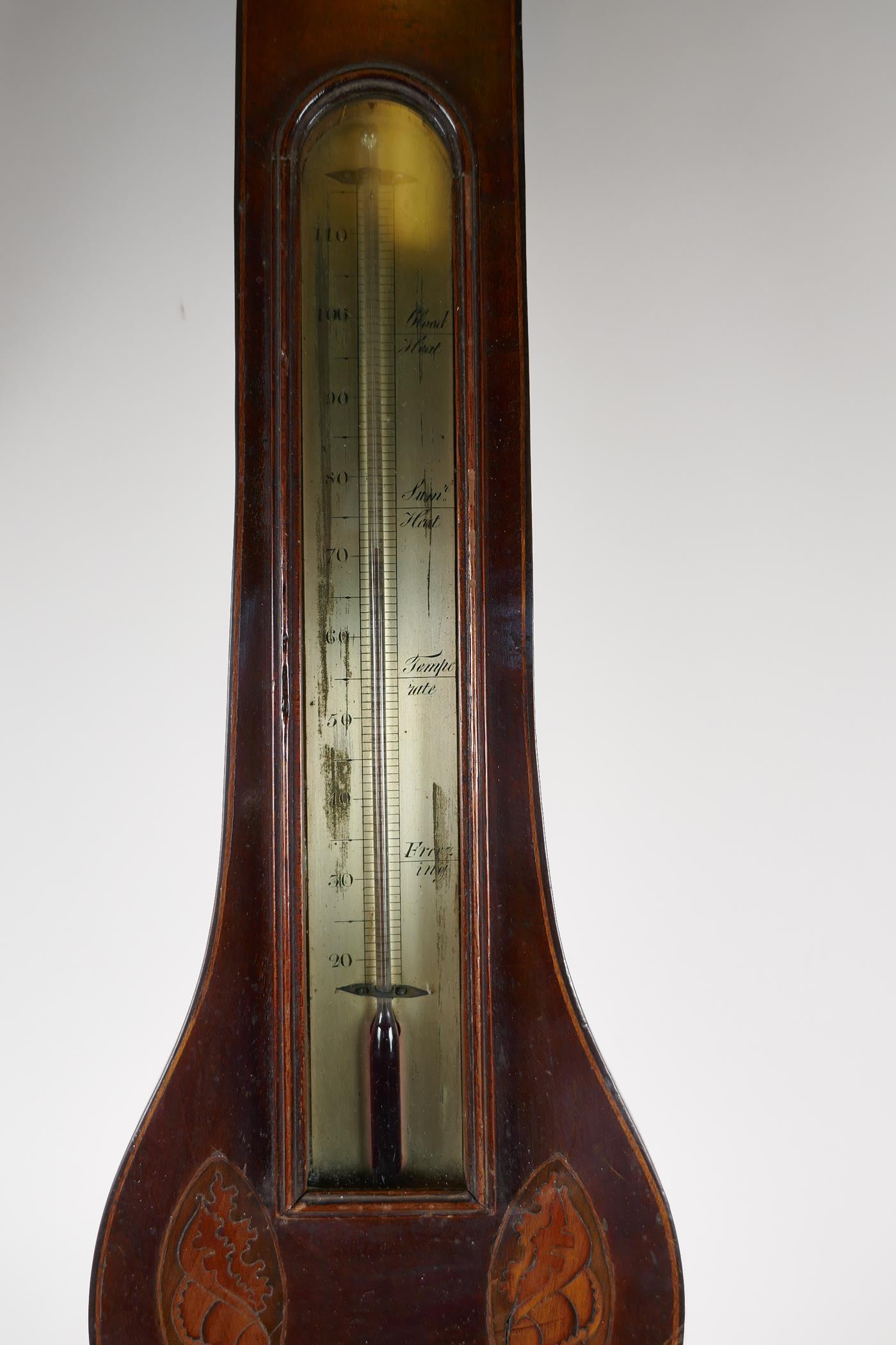 """A C19th mahogany cased barometer/thermometer with broken pediment and shell inlay, 38"""" long (tubes - Image 3 of 6"""