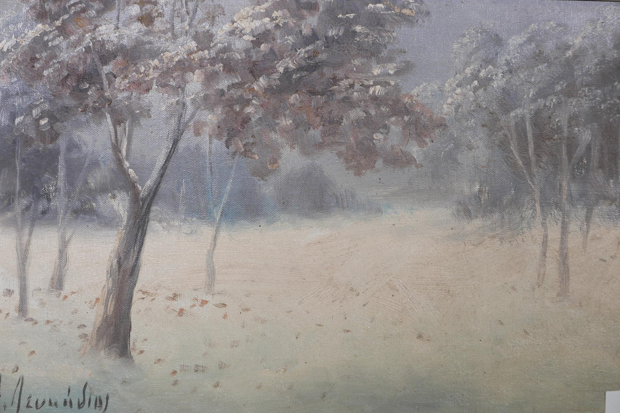 "Winter landscape, oil on board, signed A. Leukedios ?, Greek, early C20th, 18"" x 11"""
