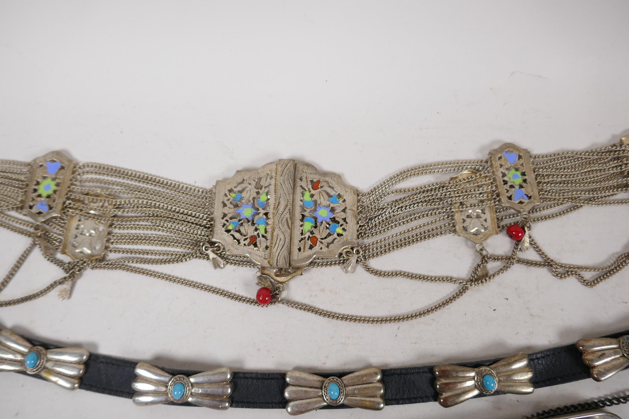 """A white metal and enamel belly dancer's belt, 37"""" long, together with a white metal and turquoise - Image 2 of 5"""
