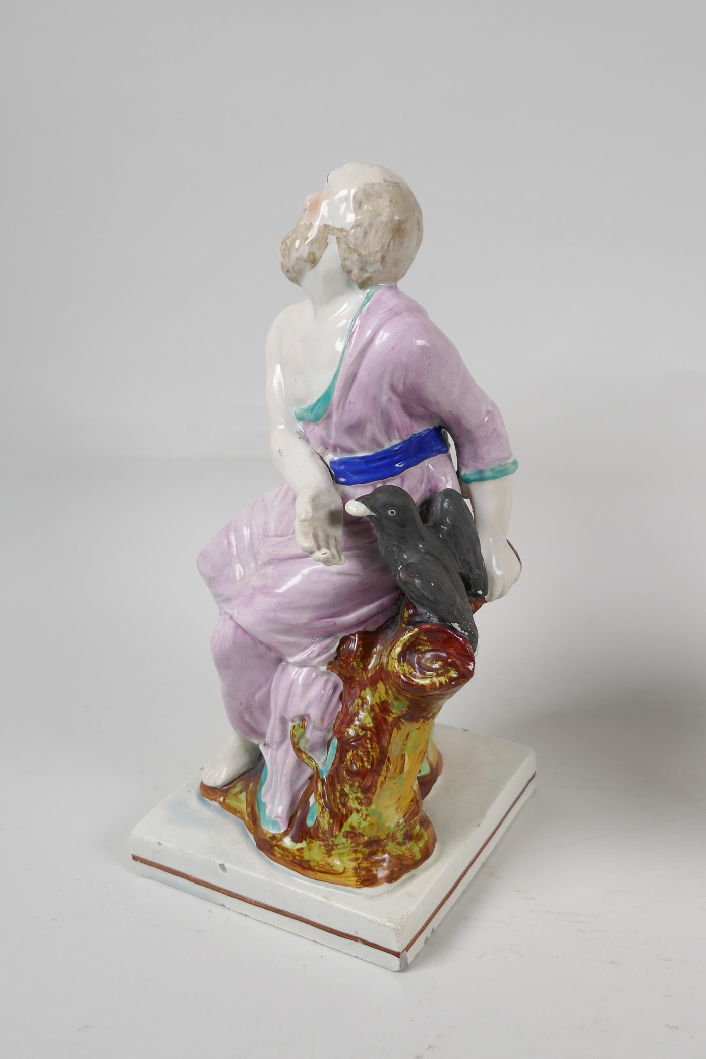"""A pair of C19th Staffordshire pottery figures, Elijah and the Widow, 9"""" high - Image 3 of 5"""