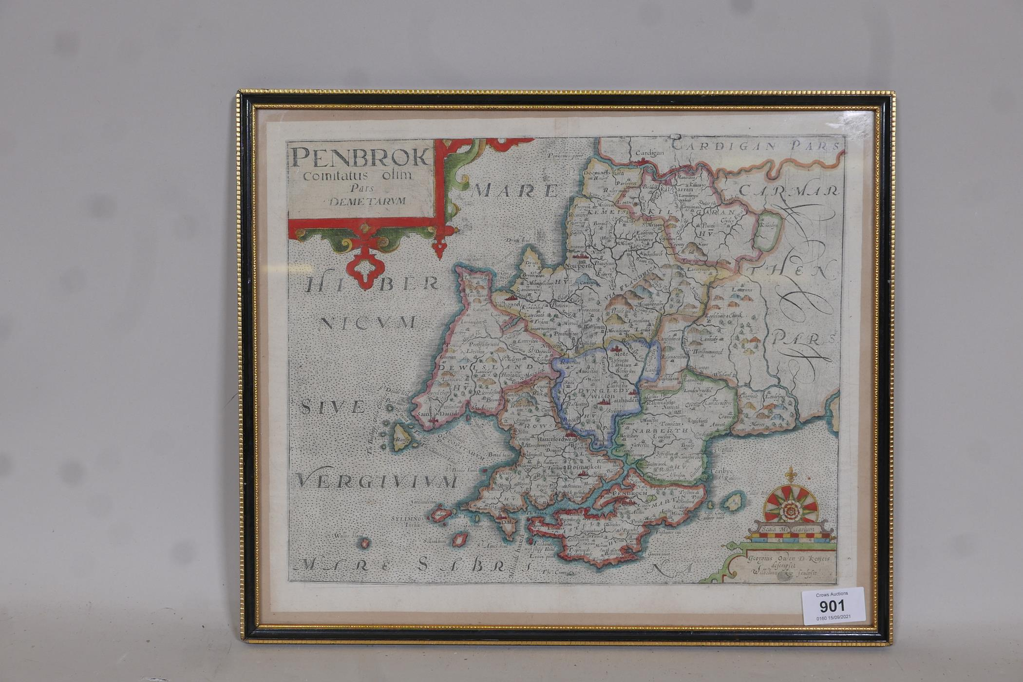 Wilhemus Kip, early C17th map of Pembroke (Pembrok) after surveys by George Owen, later hand - Image 2 of 4