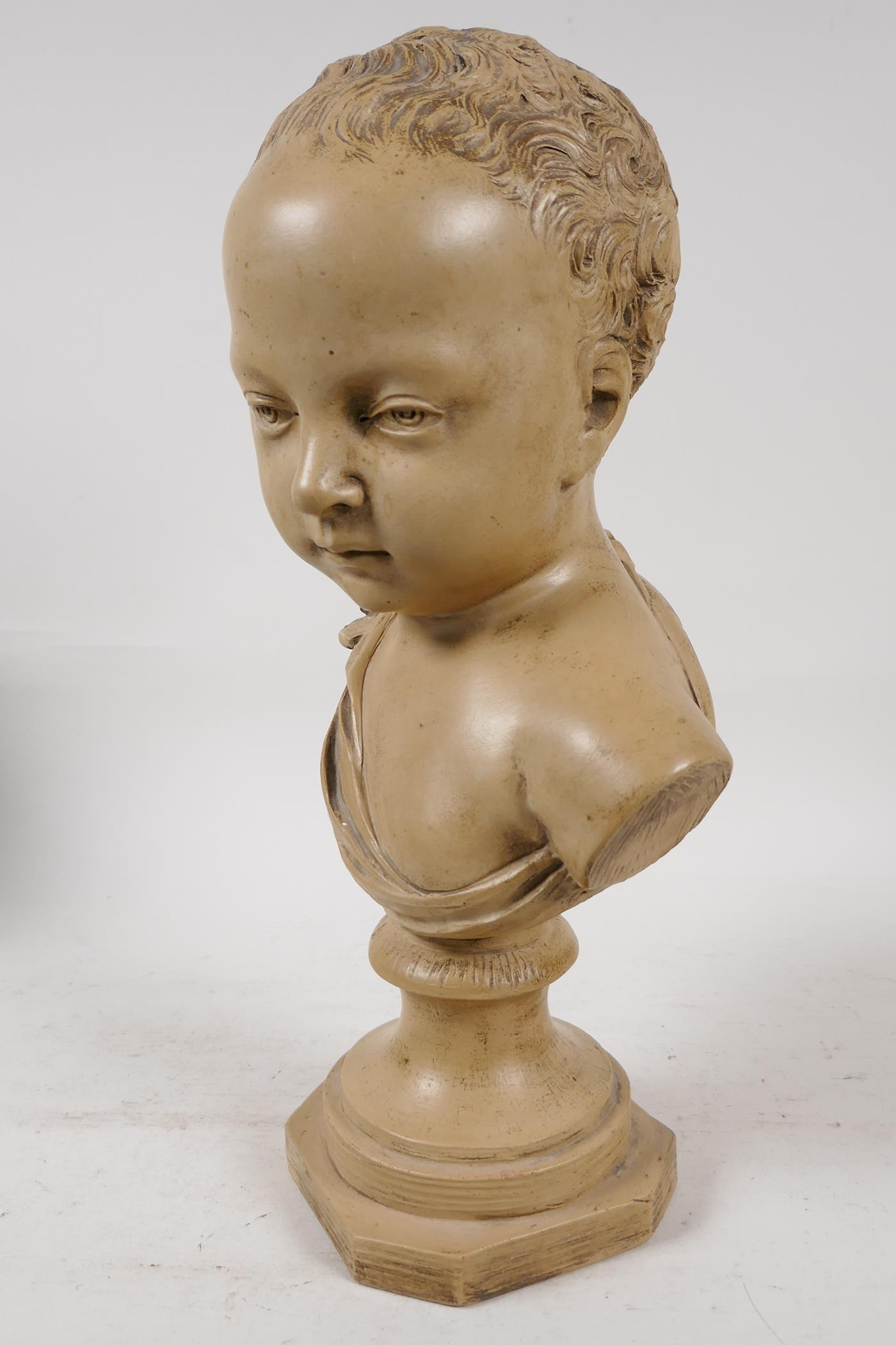 """A terracotta bust of a chld, after J.A. Houdon, 13"""" high - Image 3 of 6"""
