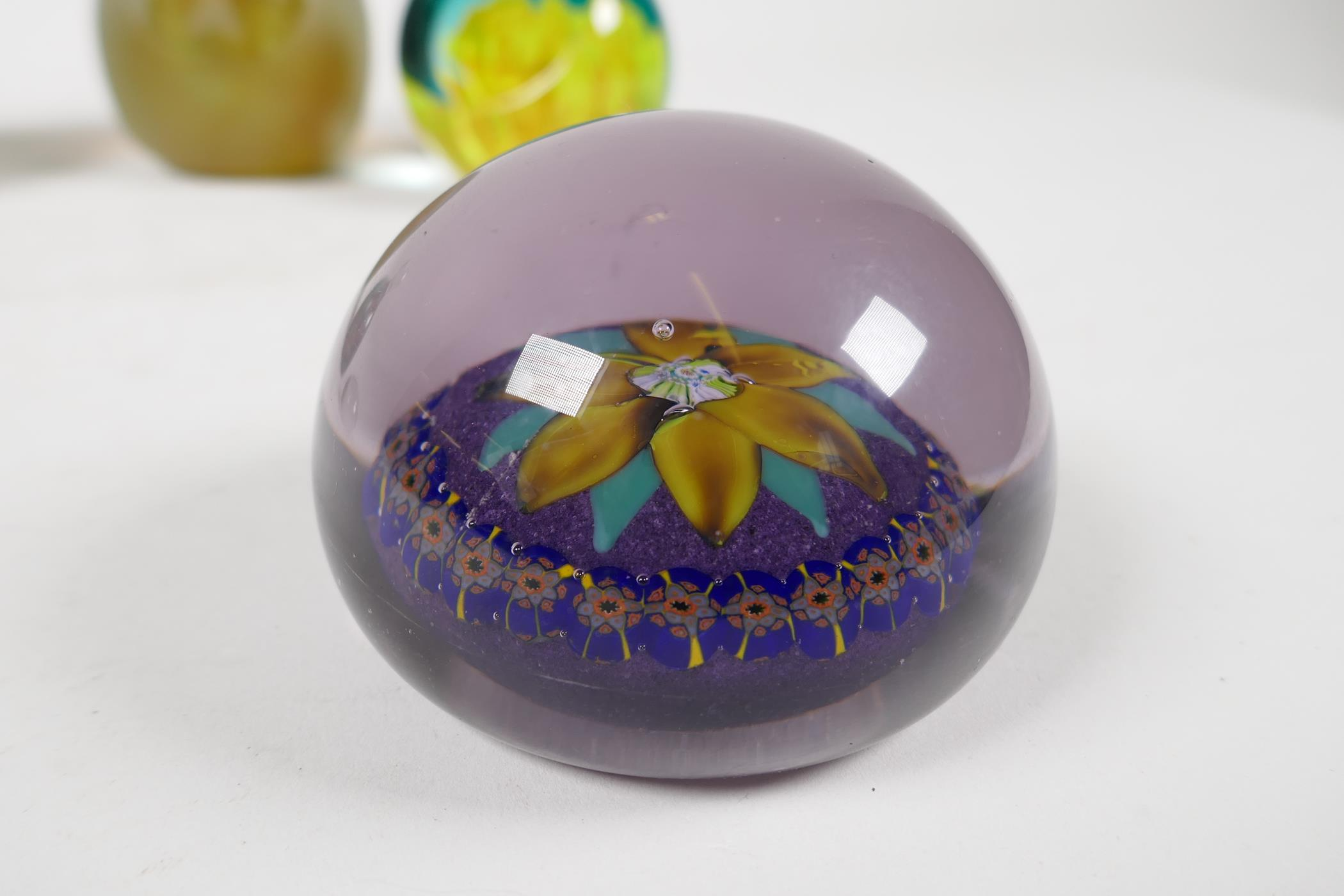 A 1930s Scottish floral glass paperweight by Salvador Ysart, a Caithness yellow carnation glass - Image 3 of 7