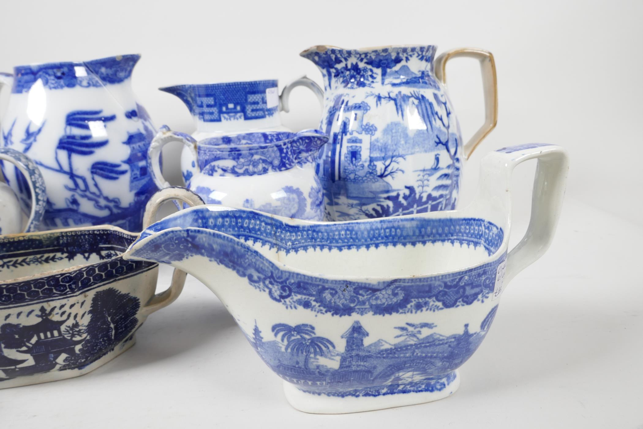 """Six blue and white transfer printed jugs and three gravy boats, various patterns, largest 6"""" high - Image 3 of 8"""