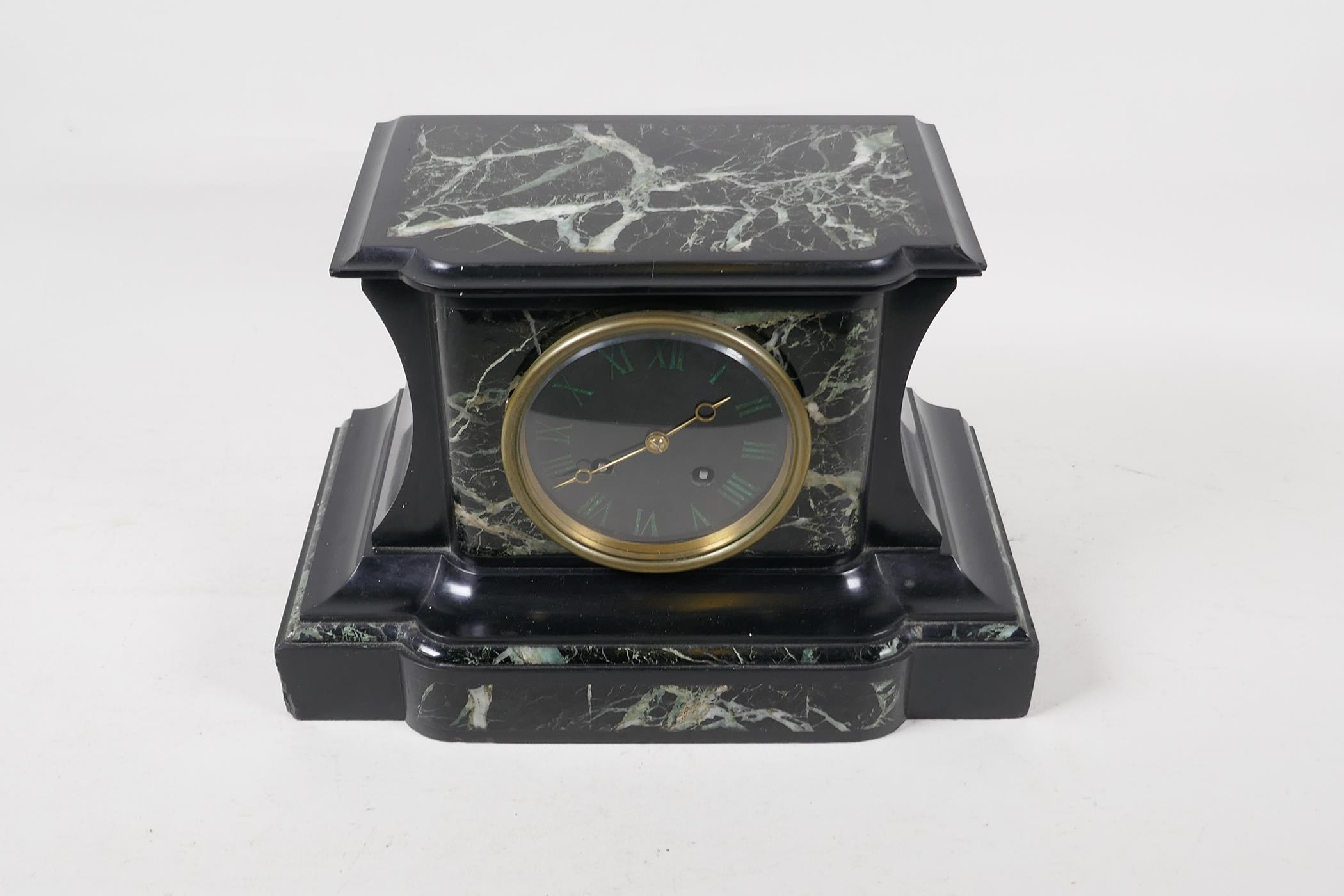 A C19th French vert de mer marble and slate mantel clock with inset malachite Roman numerals, the - Image 2 of 5