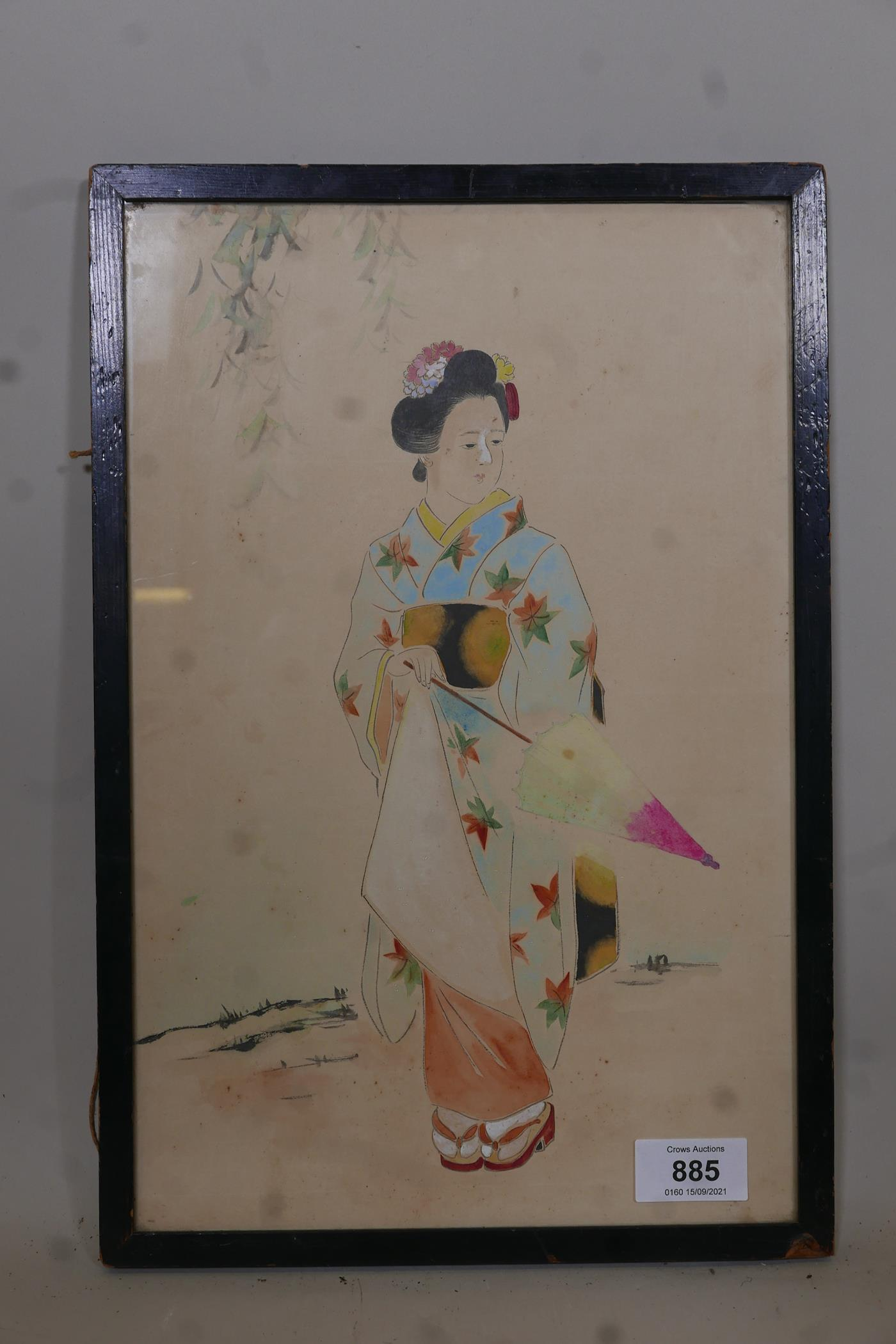 """Japanese woman with parasol, unsigned watercolour, late C19th/early C20th, 14"""" x 9"""" - Image 2 of 3"""